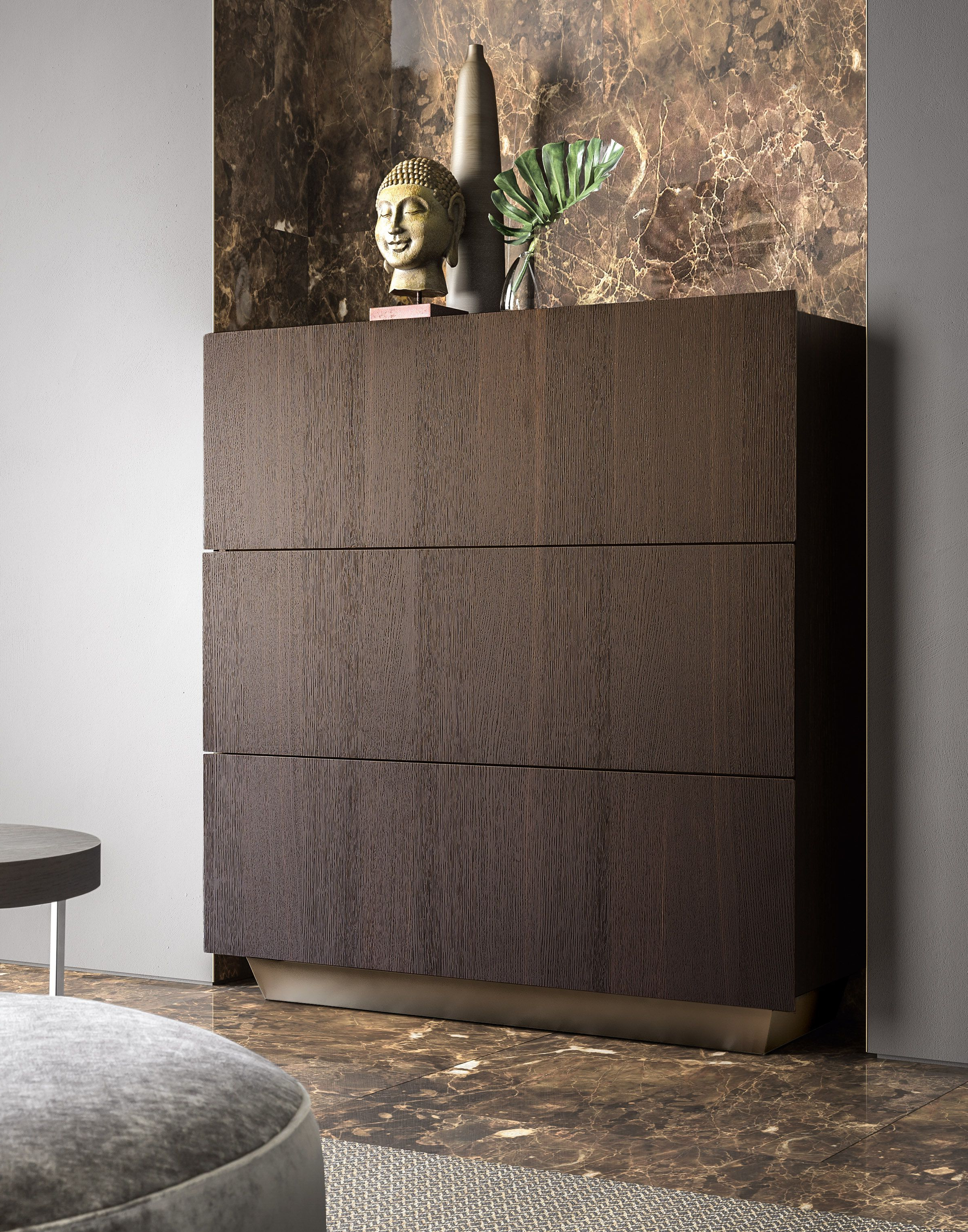 2018 Tosca Sideboard With Burnt Oak Exterior And Bronze Base (View 1 of 20)