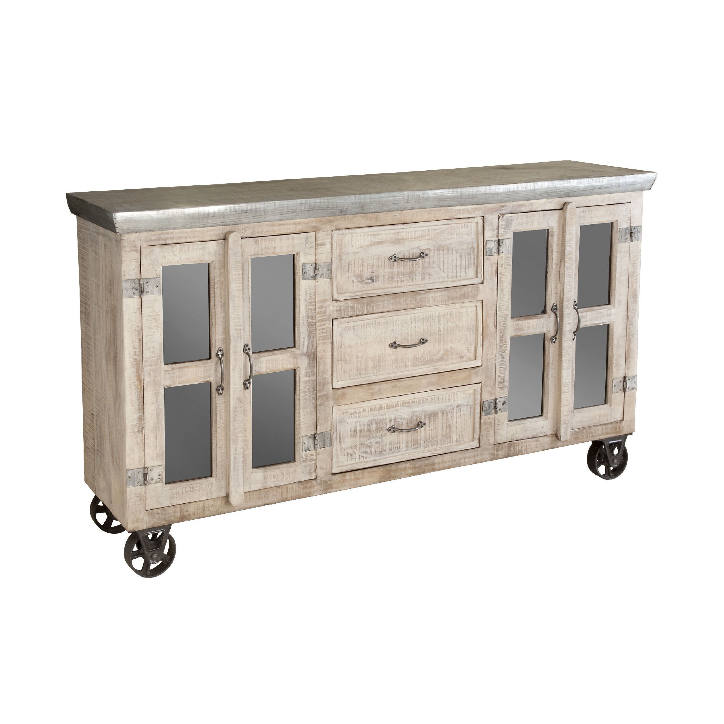 Featured Photo of White Wash 4 Door Galvanized Sideboards