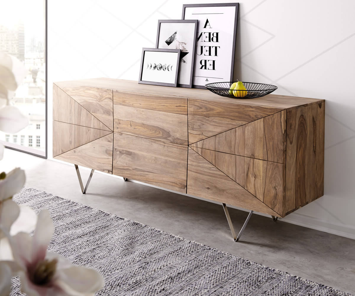 2018 Wyatt Sideboards Regarding Designer Sideboard Wyatt 175 Cm Sheesham Natur Edelstahl Möbel (View 1 of 20)