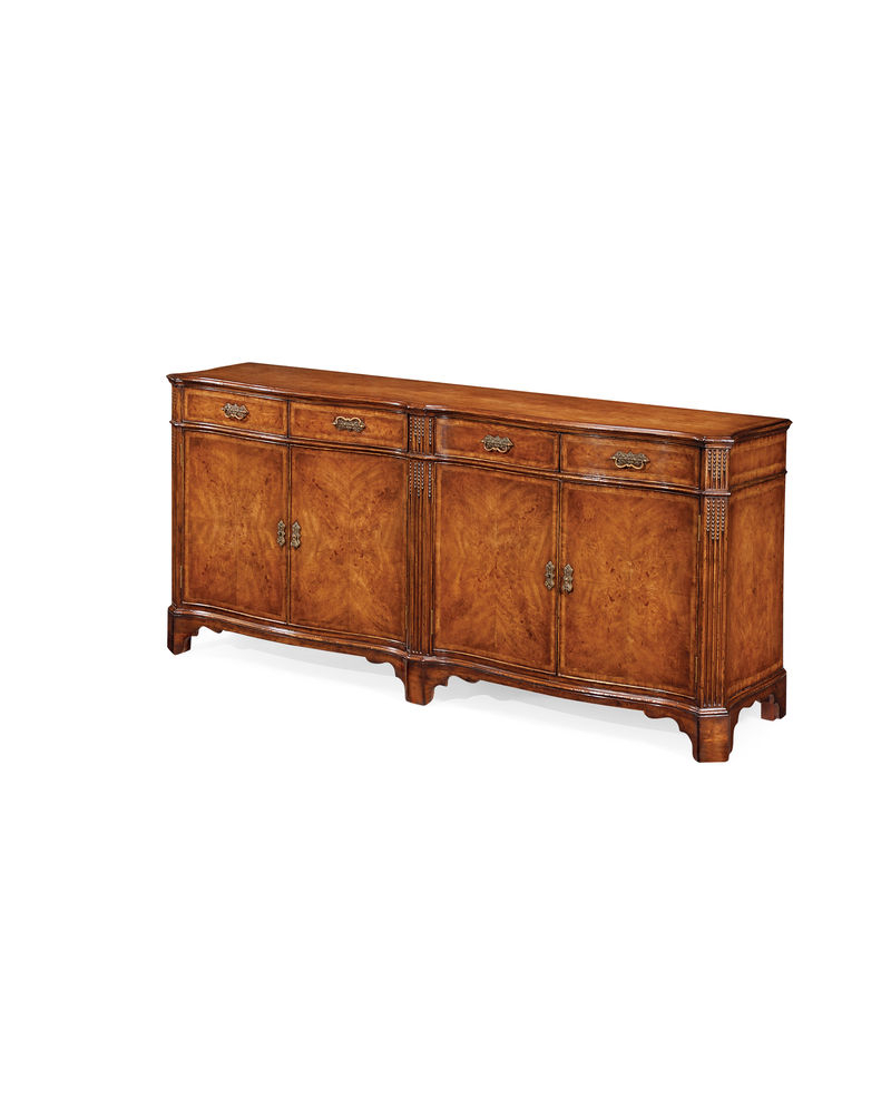 2019 493087 Jonathan Charles Special Order Walnut Double Serpentine Sideboard In Starburst 3 Door Sideboards (View 1 of 20)