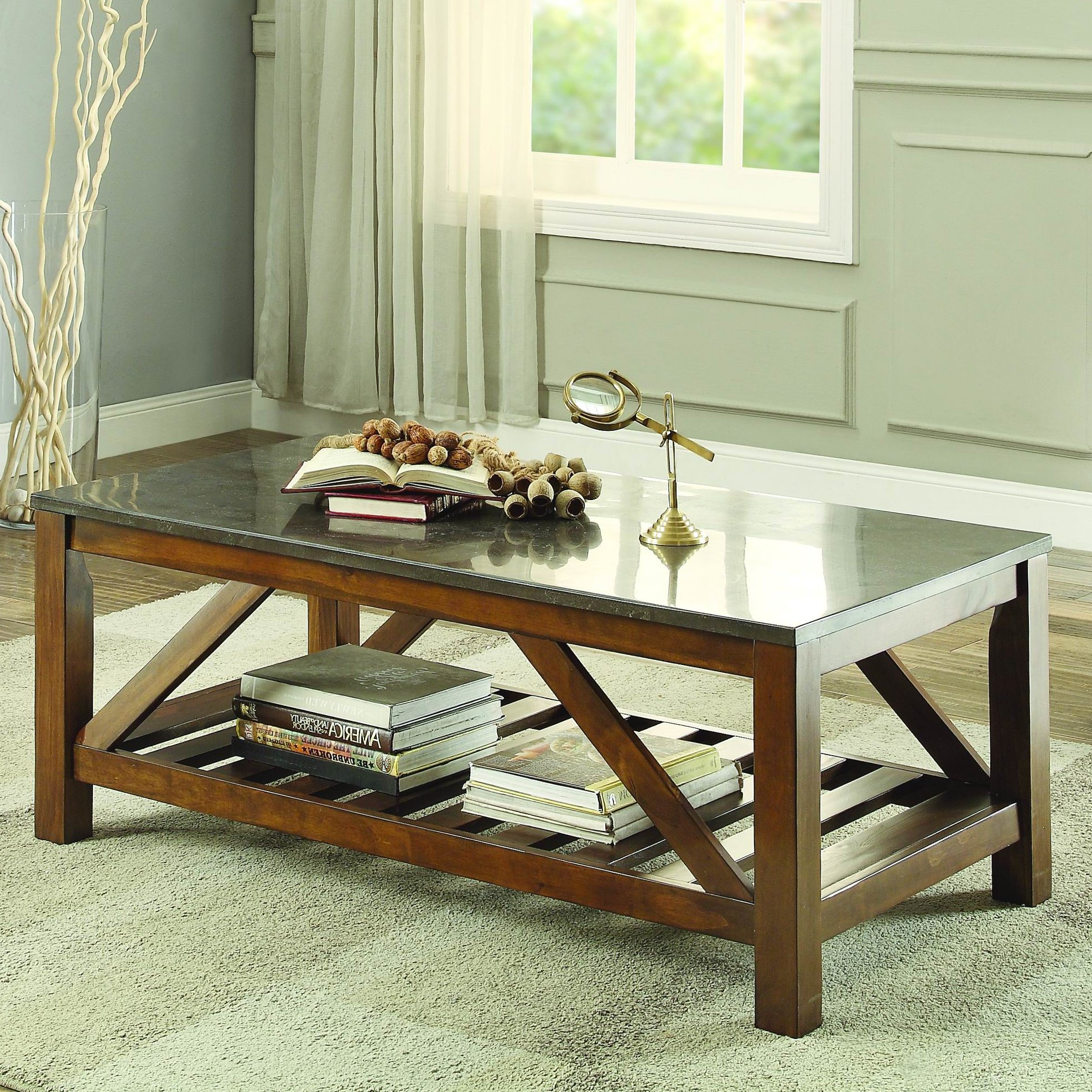 2019 Bluestone Rustic Black Coffee Tables Intended For Homelegance Ashby Coffee Table, Bluestone Marble & Reviews (View 8 of 20)