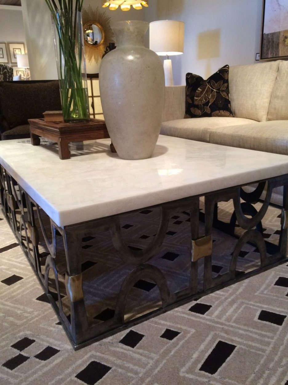 2019 Brass Cocktail Table With Glass Top White Marble Coffee Table For With Regard To Stone Top Coffee Tables (View 1 of 20)