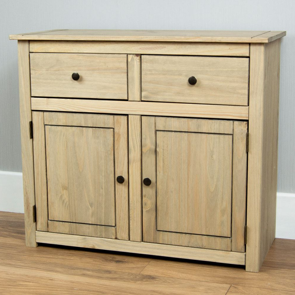 2019 Details About Panama Sideboard 2 Door 2 Drawer Cupboard Chest Natural  Wooden Solid Furniture Regarding Natural Oak Wood 2 Door Sideboards (View 3 of 20)