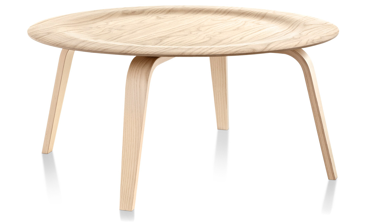 2019 Expressionist Coffee Tables Intended For Eames® Molded Plywood Coffee Table With Wood Base – Hivemodern (View 6 of 20)