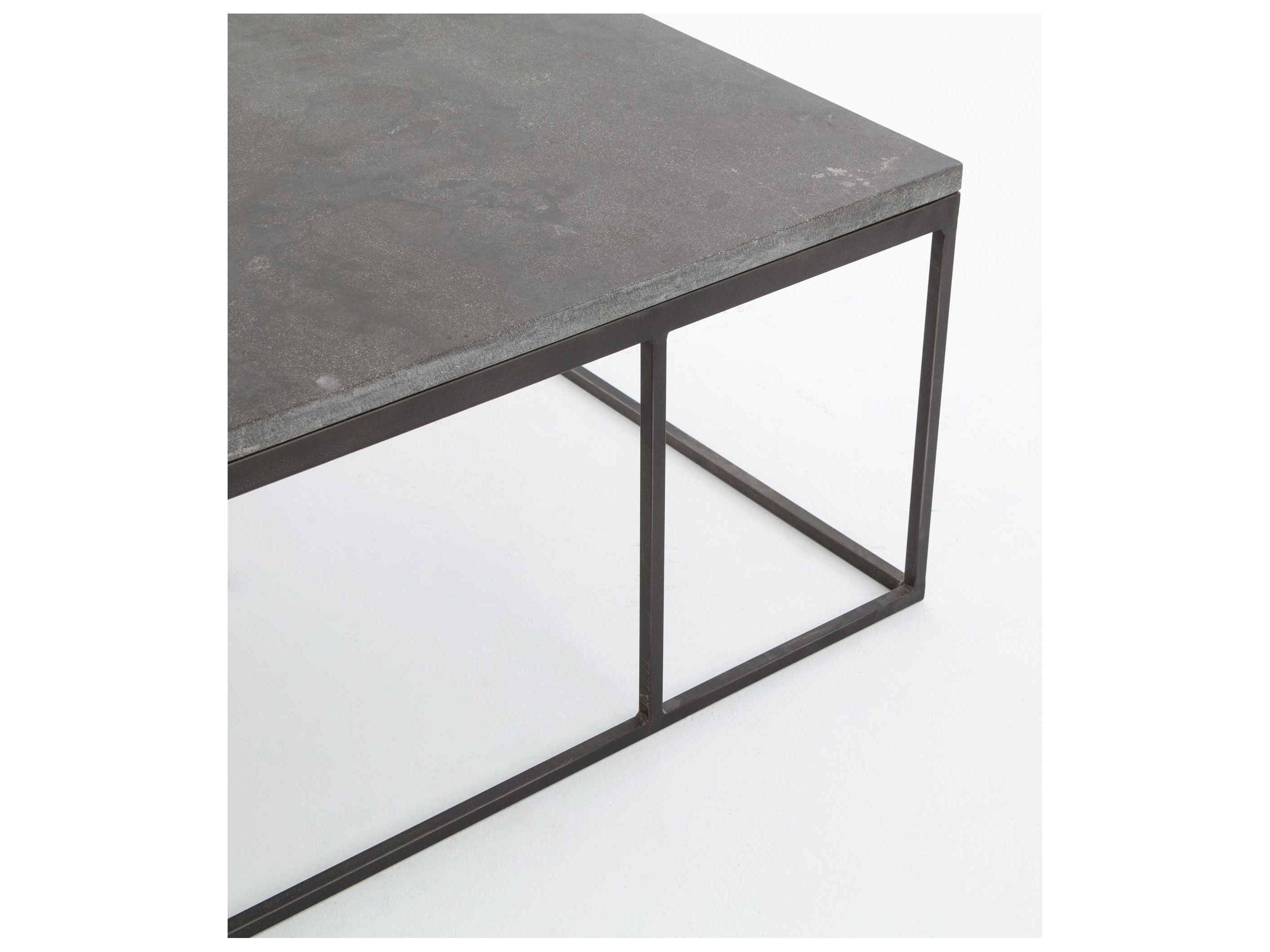 2019 Four Hands Hughes Bluestone 60 X 28 Rectangular Harlow Small Coffee With Regard To Bluestone Rustic Black Coffee Tables (View 16 of 20)