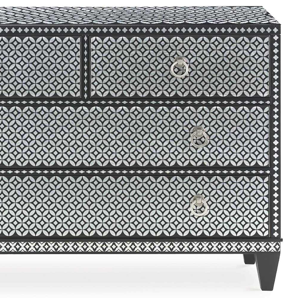 2019 Geo Pattern Black And White Bone Inlay Sideboards Within Bone Inlay Furniture Stencils For Diy Painted Bone Inlay (View 13 of 20)
