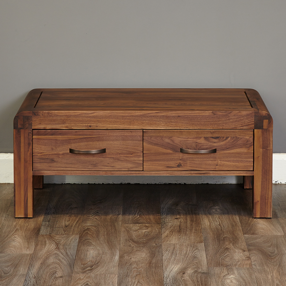 2019 Inadam Furniture – 110Cm 4 Drawer Coffee Table – Retro Solid Walnut Regarding Walnut 4 Drawer Coffee Tables (View 1 of 20)