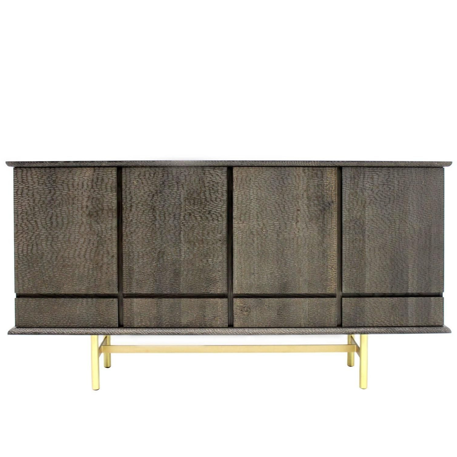 2019 Iron Sideboards In Modern Italian Textured Walnut Wood And Iron Four Door Sideboard (Gallery 10 of 20)