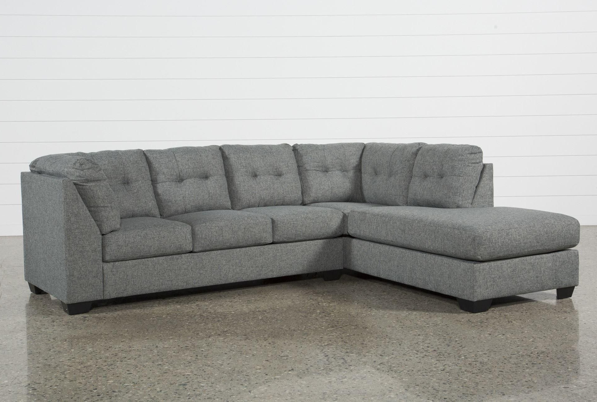2019 Lucy Dark Grey 2 Piece Sleeper Sectionals With Raf Chaise With Regard To Arrowmask 2 Piece Sectional W/sleeper & Left Facing Chaise (View 2 of 20)