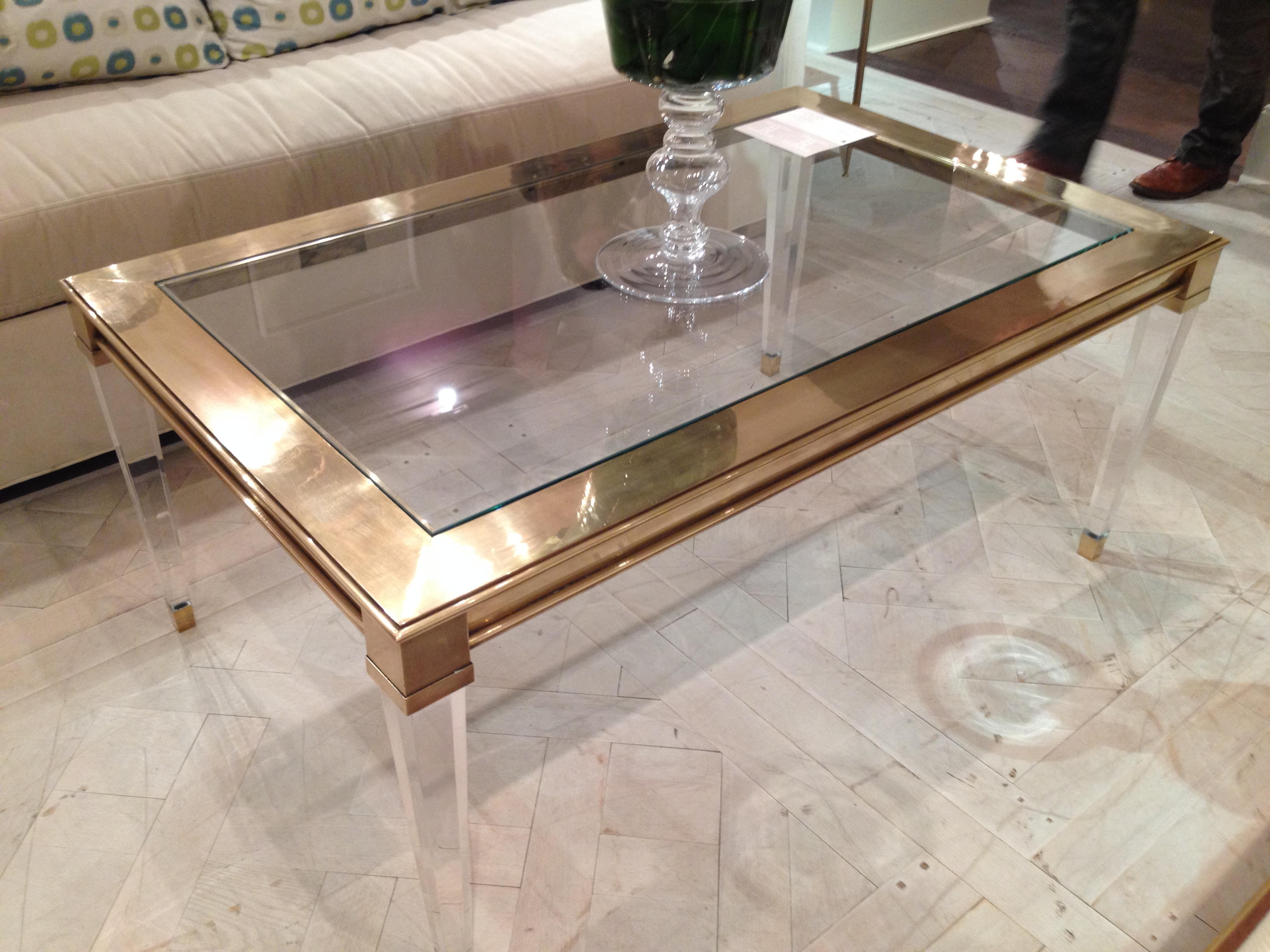 2019 Salma Acrylic And Brass Coffee Table – Mecox Gardens For Acrylic Glass And Brass Coffee Tables (View 6 of 20)