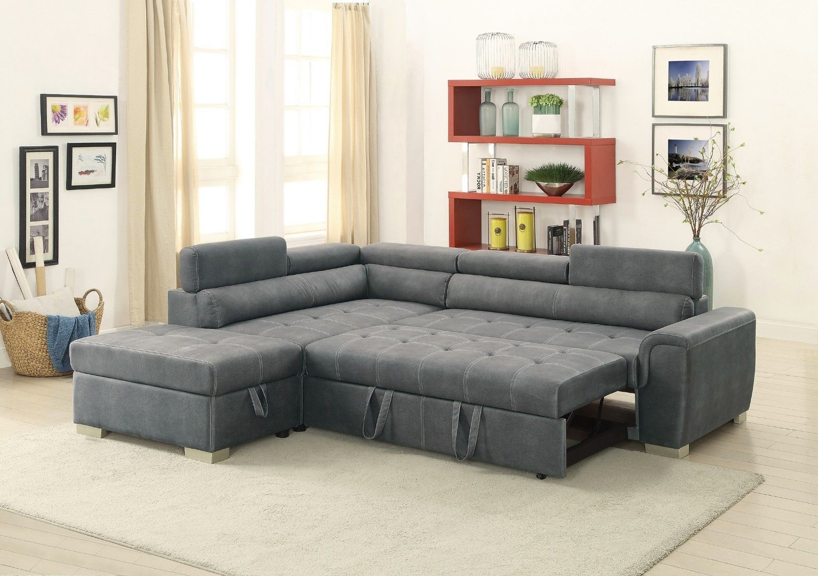 2019 Sectional Grey Breathable Leatherette Chaise Pull Out Sofa Bed Inside Calder Grey 6 Piece Manual Reclining Sectionals (View 9 of 20)
