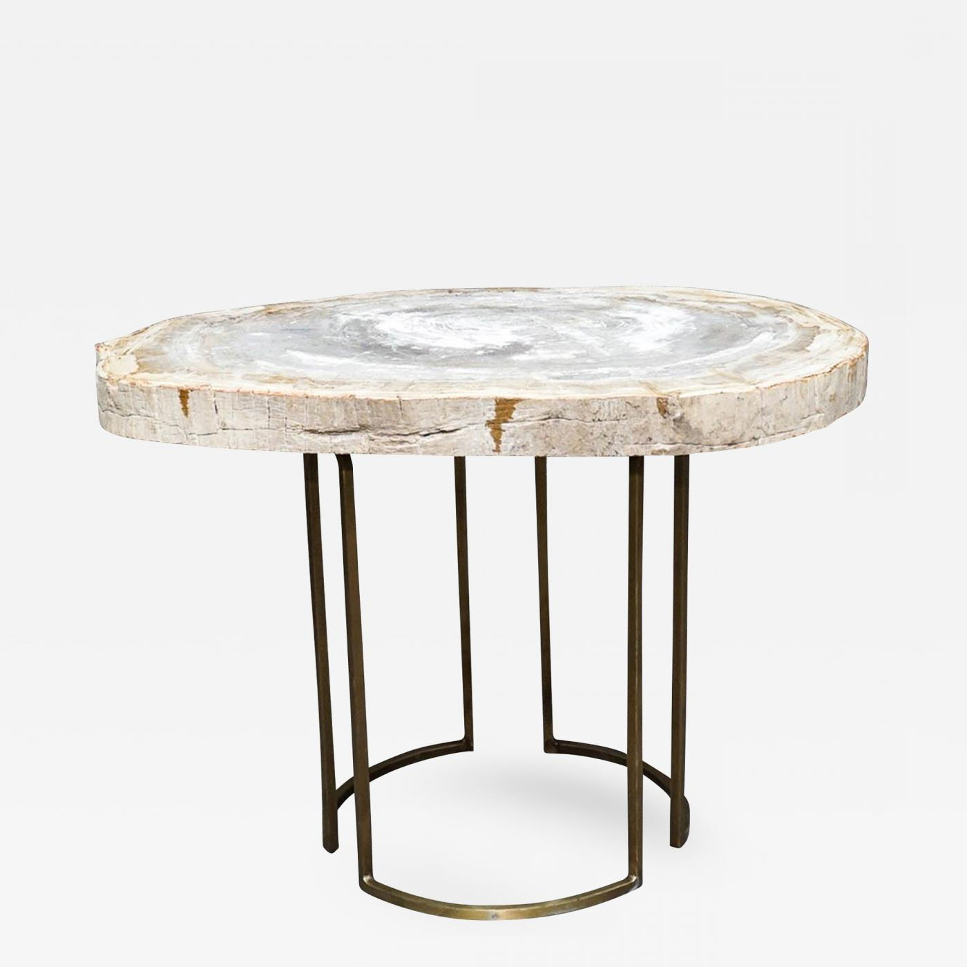 2019 Slab Large Marble Coffee Tables With Brass Base Pertaining To Custom Petrified Wood Slab Accent Table With Brass Base (Gallery 11 of 20)