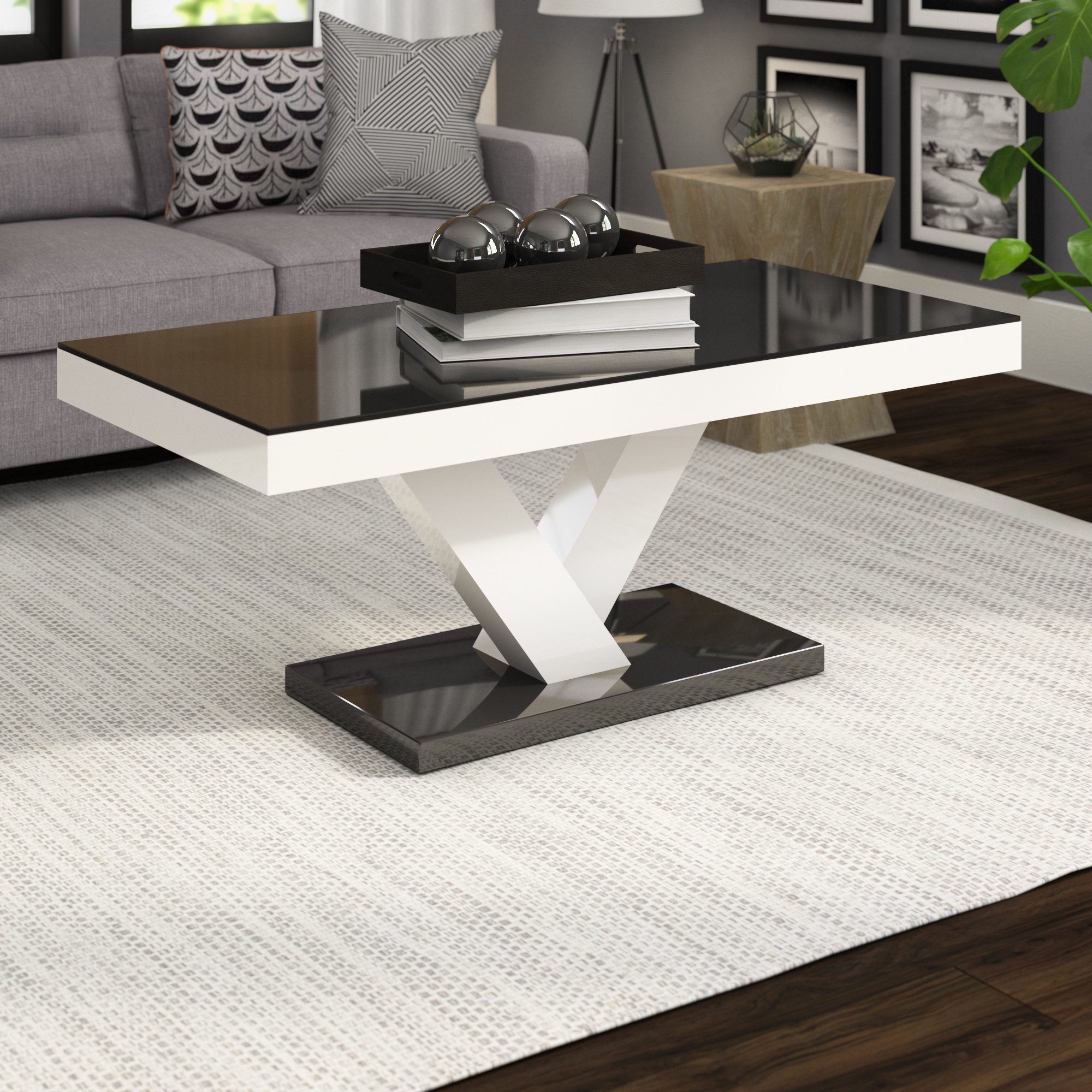 2019 Stack Hi Gloss Wood Coffee Tables For Wade Logan Thurmont Cross Legs Coffee Table & Reviews (View 3 of 20)