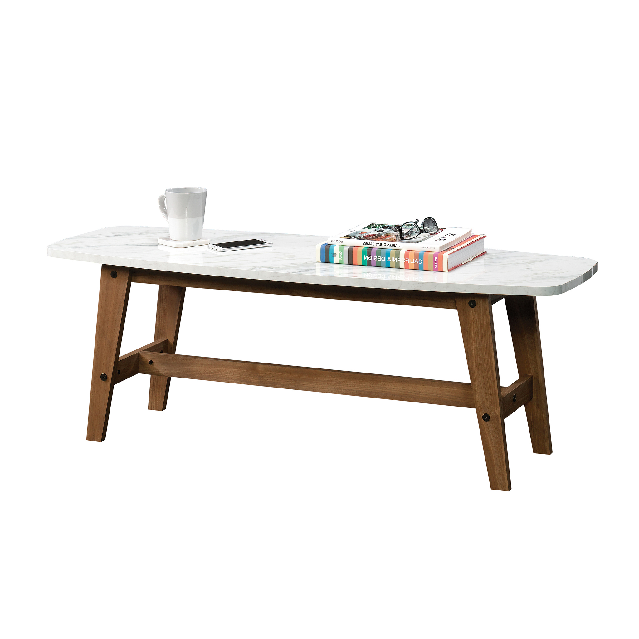 2019 Walnut Finish 6 Drawer Coffee Tables In Sauder Harvey Park Coffee Table, Faux Carrara Marble Finish (View 2 of 20)