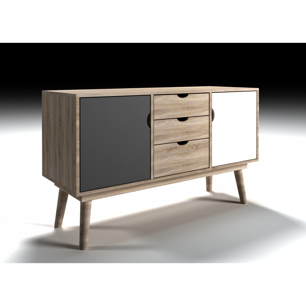 3 Drawer/2 Door White Wash Sideboards For Newest Lpd Scandi 2 Door 3 Drawer Oak Sideboard – White Or Grey – Home Done (View 2 of 20)