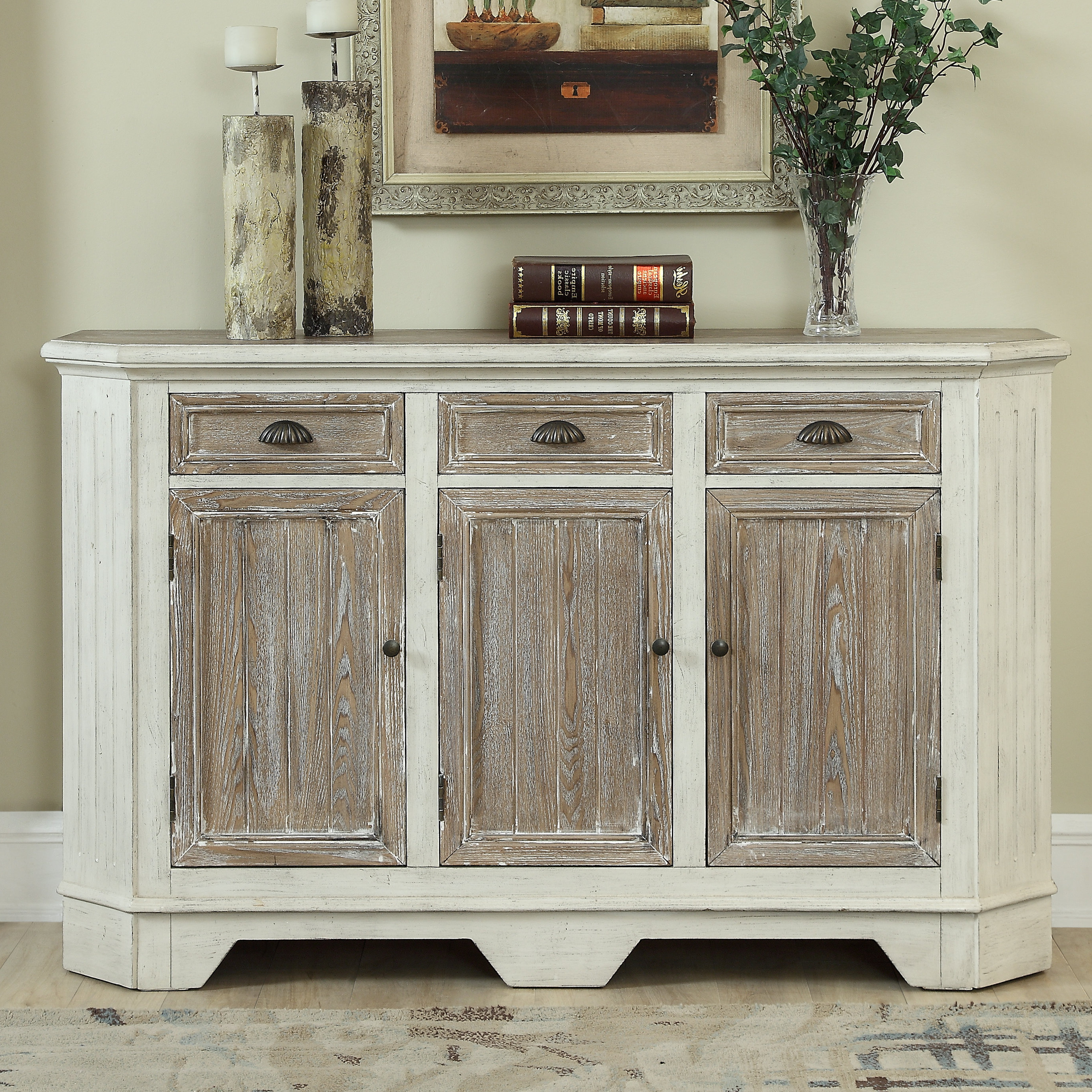4 Door 3 Drawer White Wash Sideboards Pertaining To Most Current Highland Dunes Funkhouser 3 Door 3 Drawer Sideboard & Reviews (View 15 of 20)