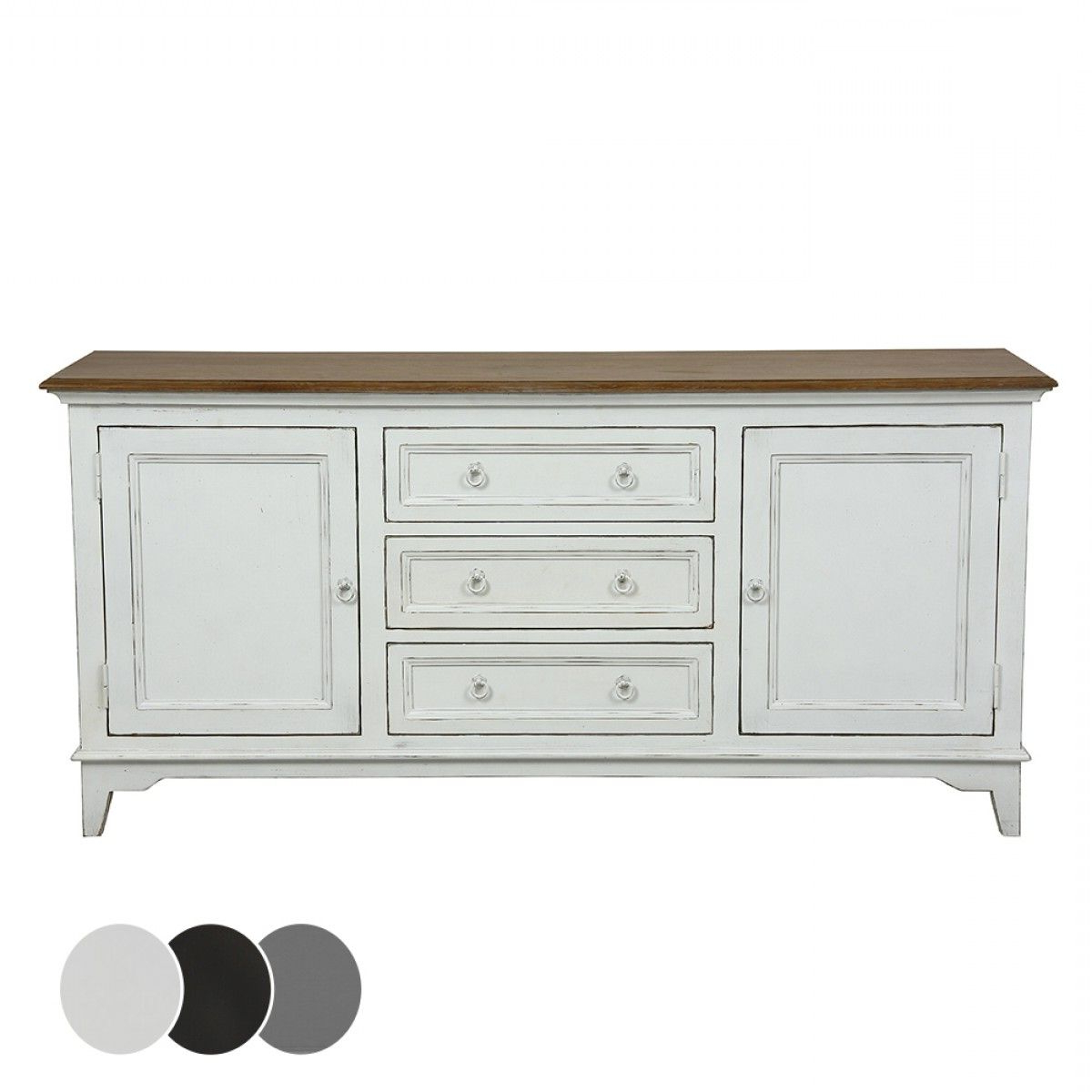 4 Door 3 Drawer White Wash Sideboards Within Most Up To Date Esquisse 2 Door 3 Drawer Sideboard – Black – Buffets & Sideboards (View 6 of 20)