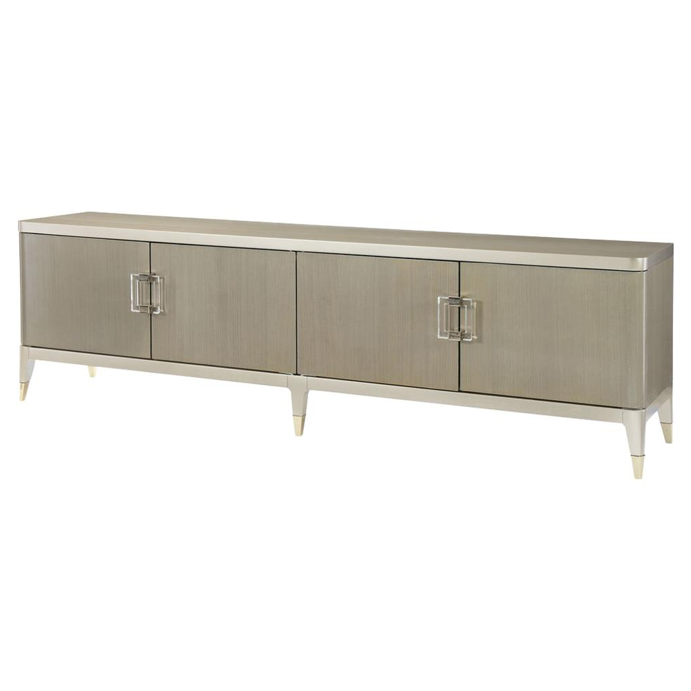 4 Door/4 Drawer Metal Inserts Sideboards With Regard To Popular Miranda Modern Classic Champagne Taupe 4 Door Koto Panel Media Cabinet (Gallery 12 of 20)