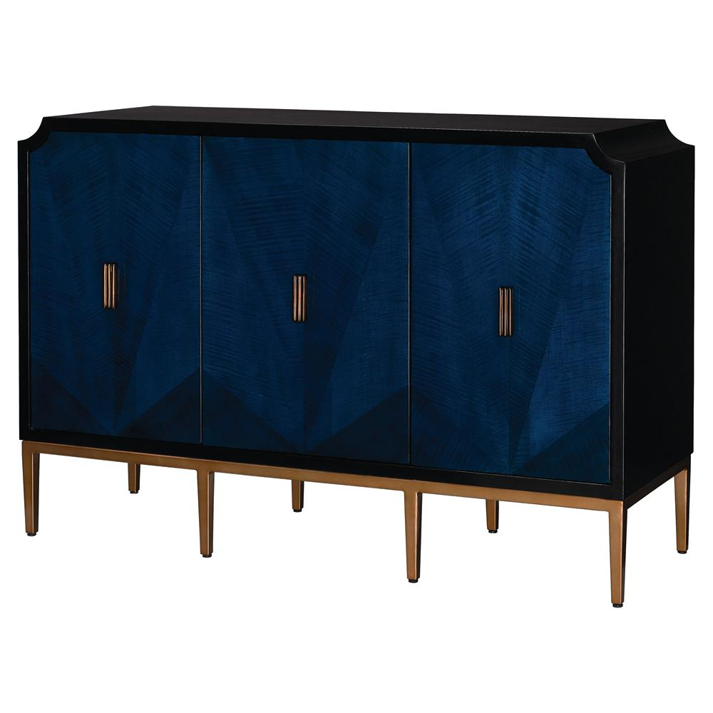 4 Door Wood Squares Sideboards With Regard To Most Up To Date Sapir Modern Classic Blue Gold Black 3 Door Sideboard Cabinet (View 3 of 20)