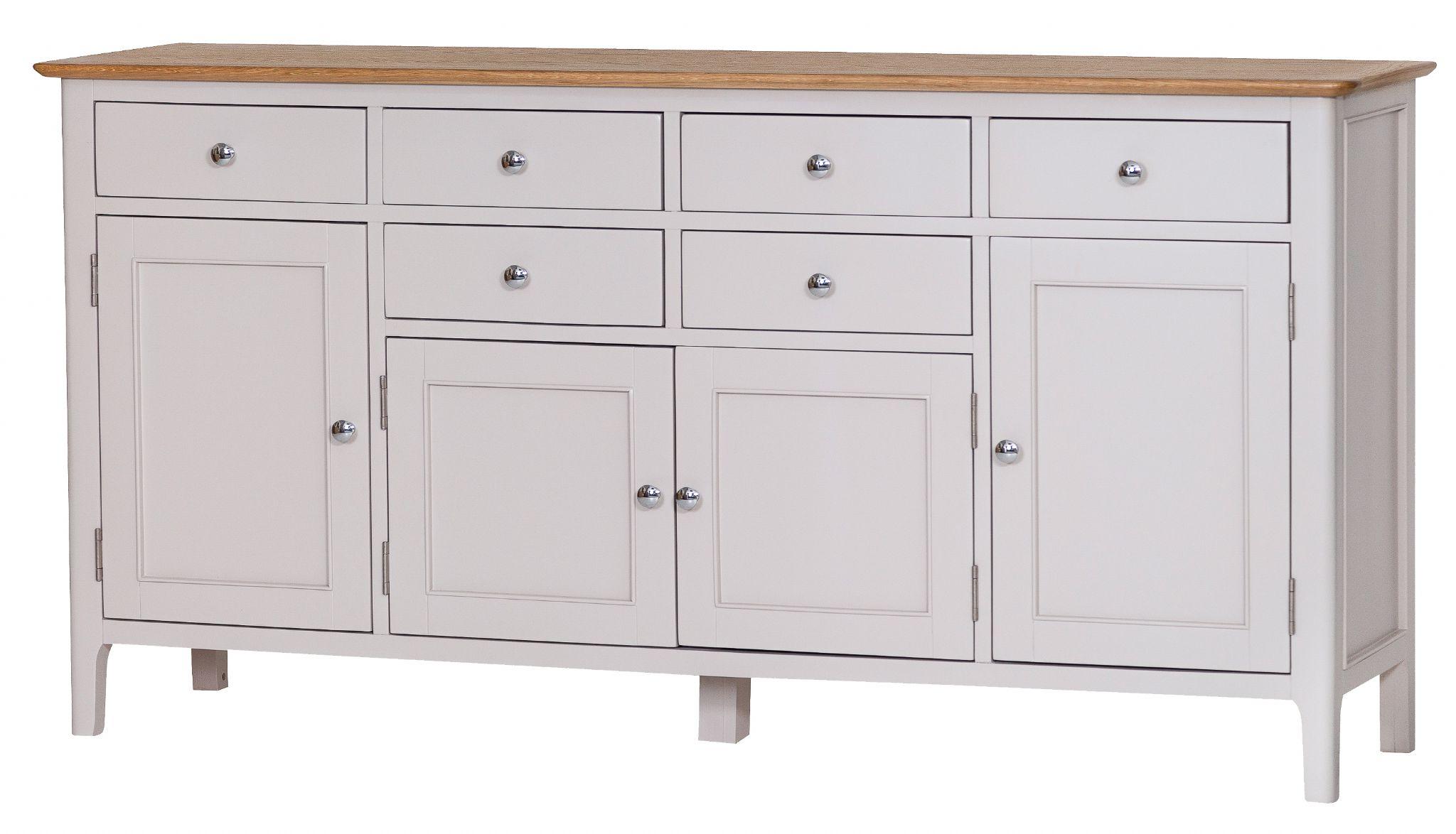 4 Door Wood Squares Sideboards Within Latest Newhaven Oak 4 Door Sideboard (View 5 of 20)