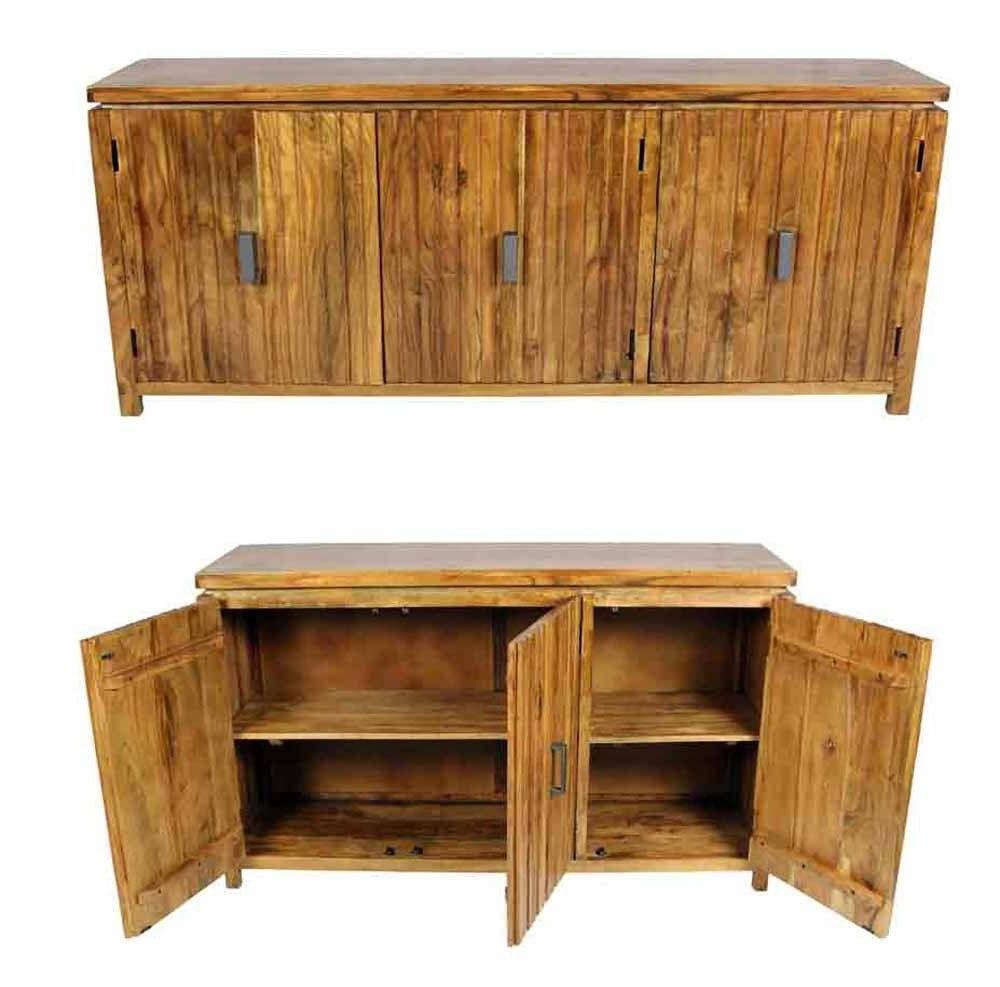Acacia Wood 4 Door Sideboards Within Most Current Meva Furniture – Spree Ogden 3 Door Sideboard In Acacia Wood (View 6 of 20)