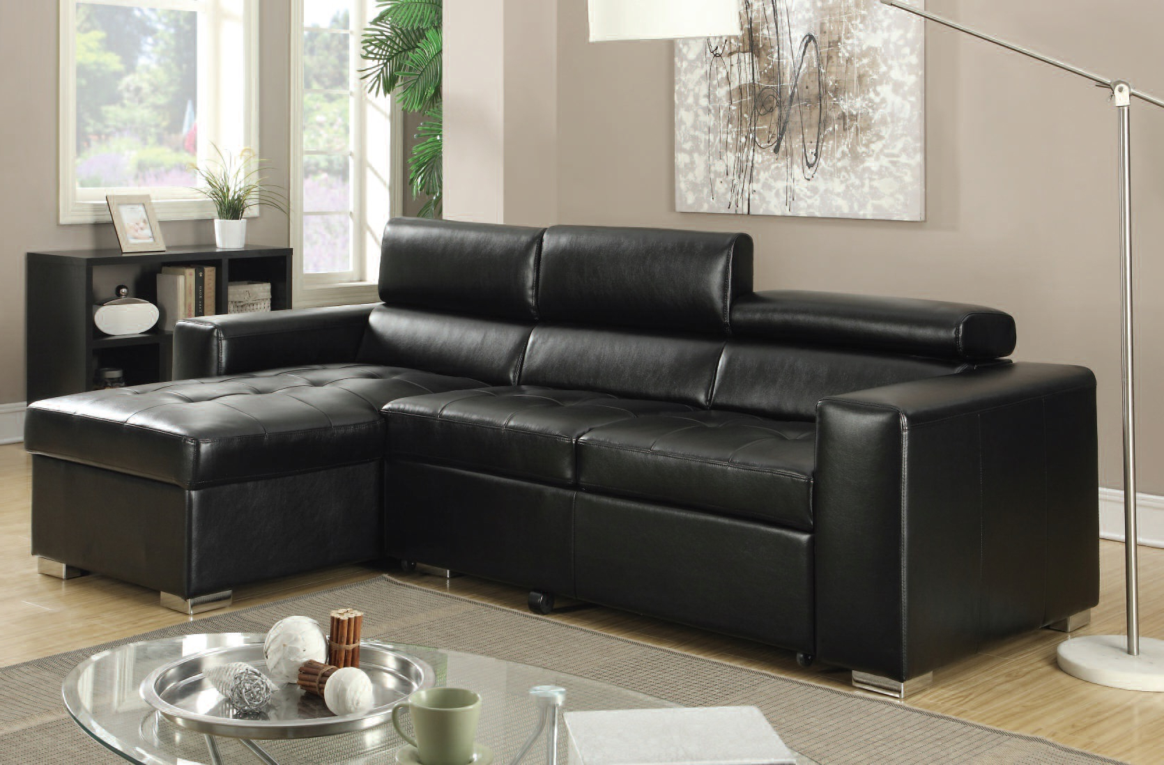 Acme Furniture Aidan Black Bonded Leather Sectional Sofa (View 6 of 20)