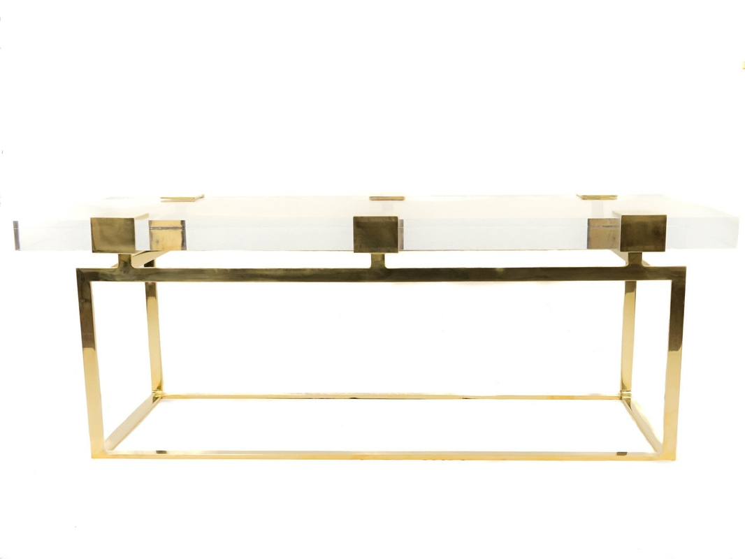 Acrylic & Brushed Brass Coffee Tables Throughout Well Known Collections – Custom Drapery, Fine Metal And Acrylic Hardware (View 4 of 20)