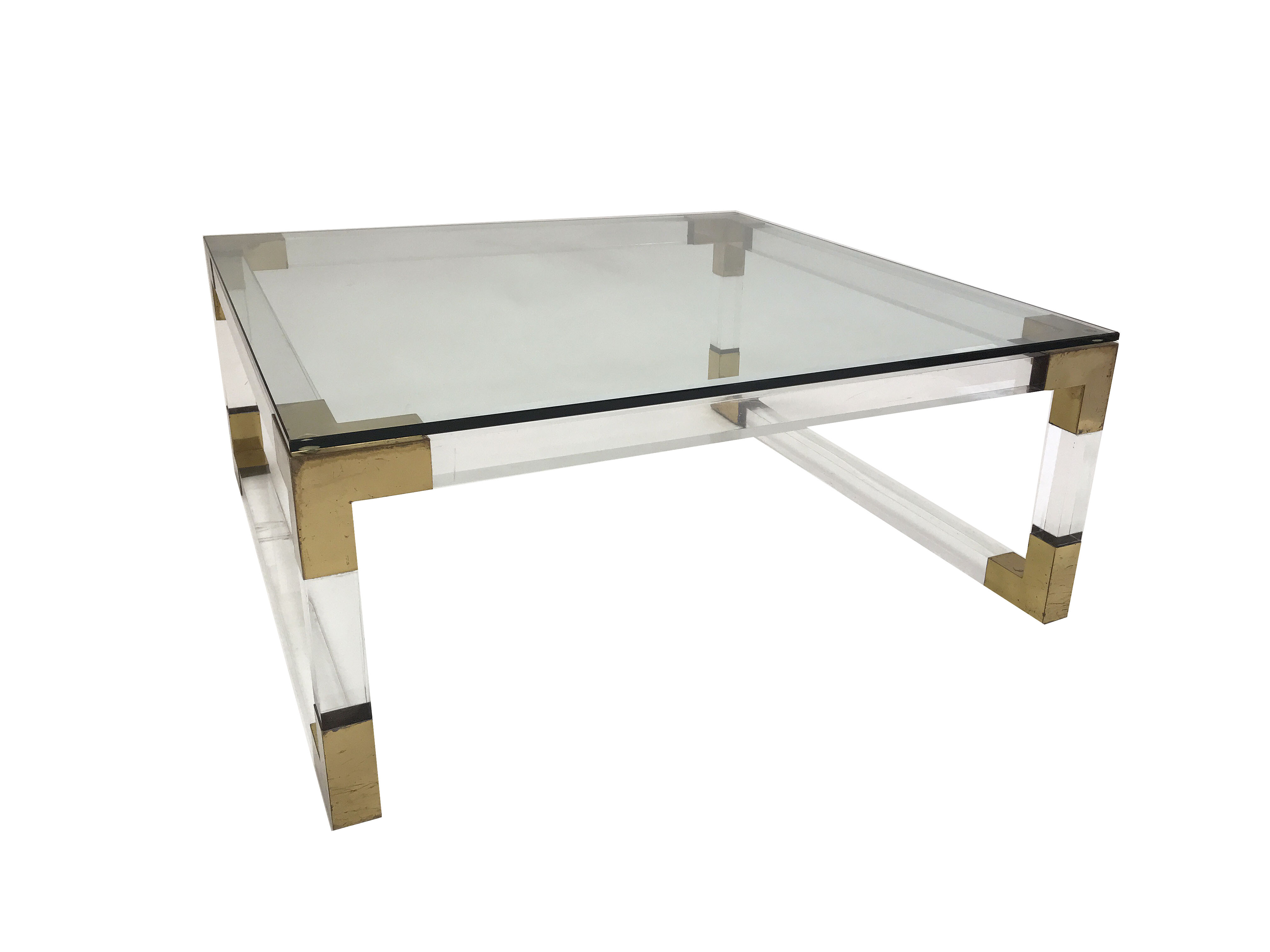 Acrylic & Brushed Brass Coffee Tables With Regard To Most Up To Date Vintage French Acrylic And Brass Square Coffee Table – Mecox Gardens (View 7 of 20)