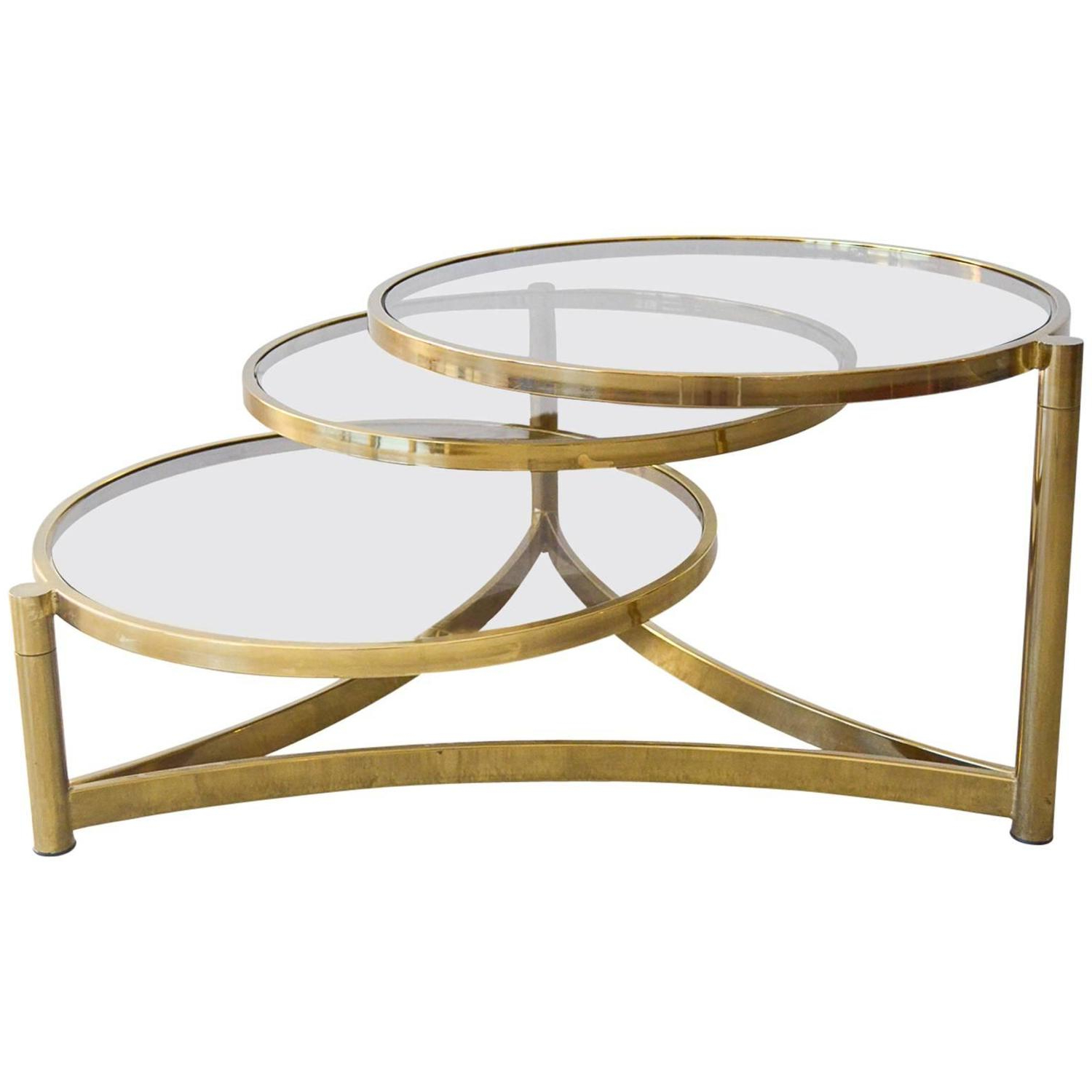 Acrylic Glass And Brass Coffee Tables Pertaining To Favorite Modern File Cabinet : The Perfect Real Round Brass End Table Images (View 7 of 20)