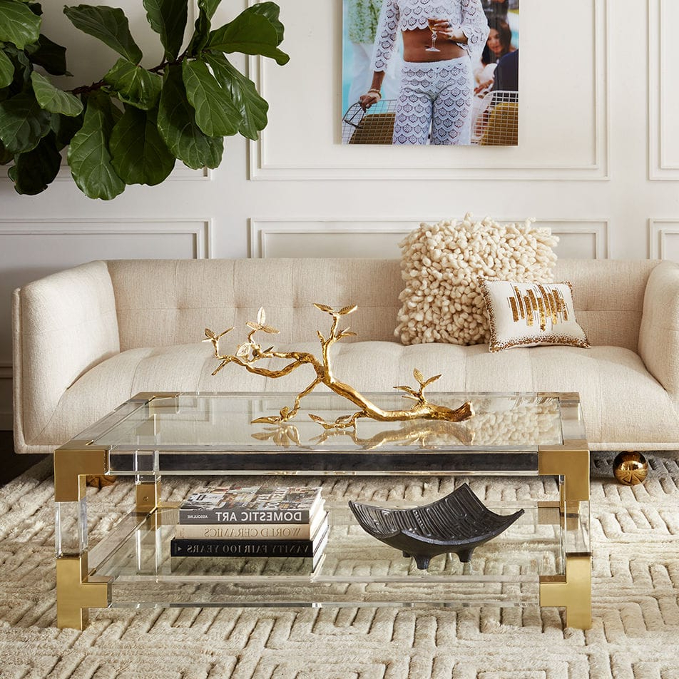 Acrylic Glass And Brass Coffee Tables With Regard To Fashionable Contemporary Coffee Table / Glass / Brushed Brass / Acrylic (View 9 of 20)