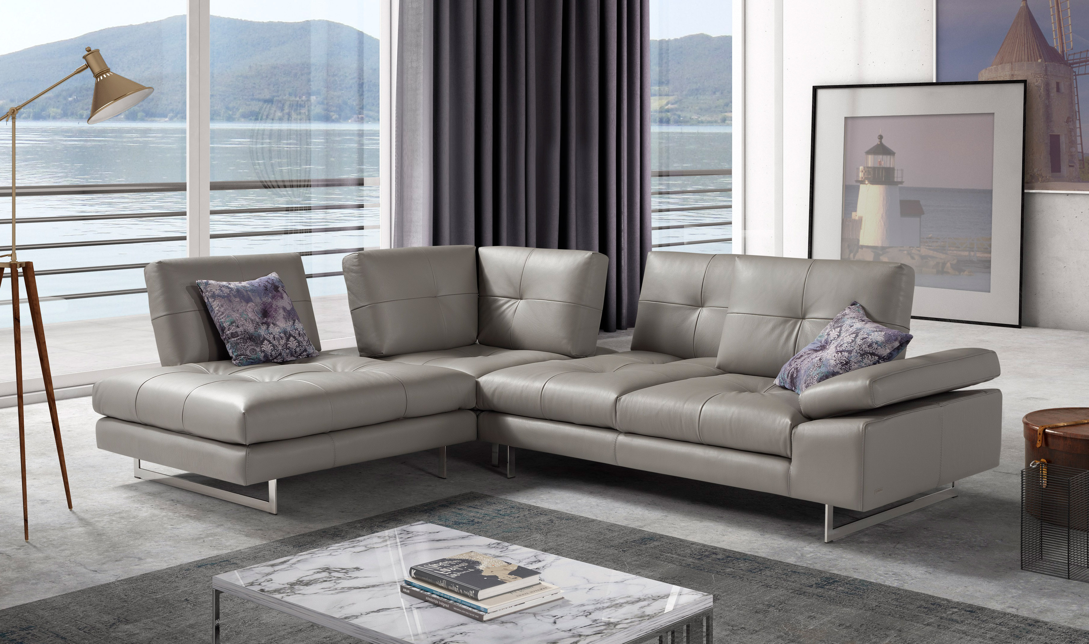 Advanced Adjustable Tufted Leather Sectional With Chaise Aurora Intended For Trendy Aurora 2 Piece Sectionals (Gallery 7 of 20)