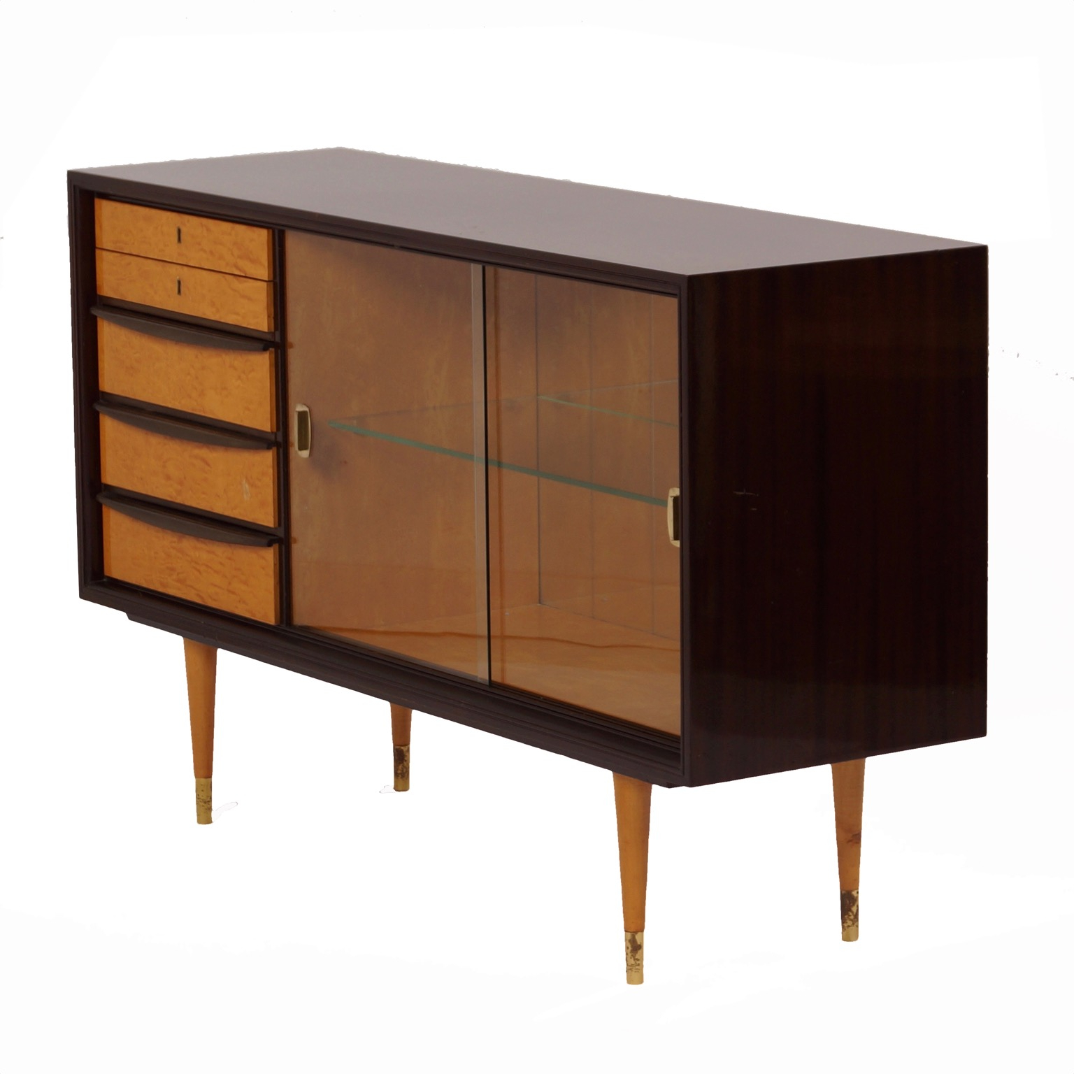 Aged Brass Sideboards Throughout 2019 Mahogany Sideboard With Showcase And Brass Details, 1960S – Vintage (View 5 of 20)