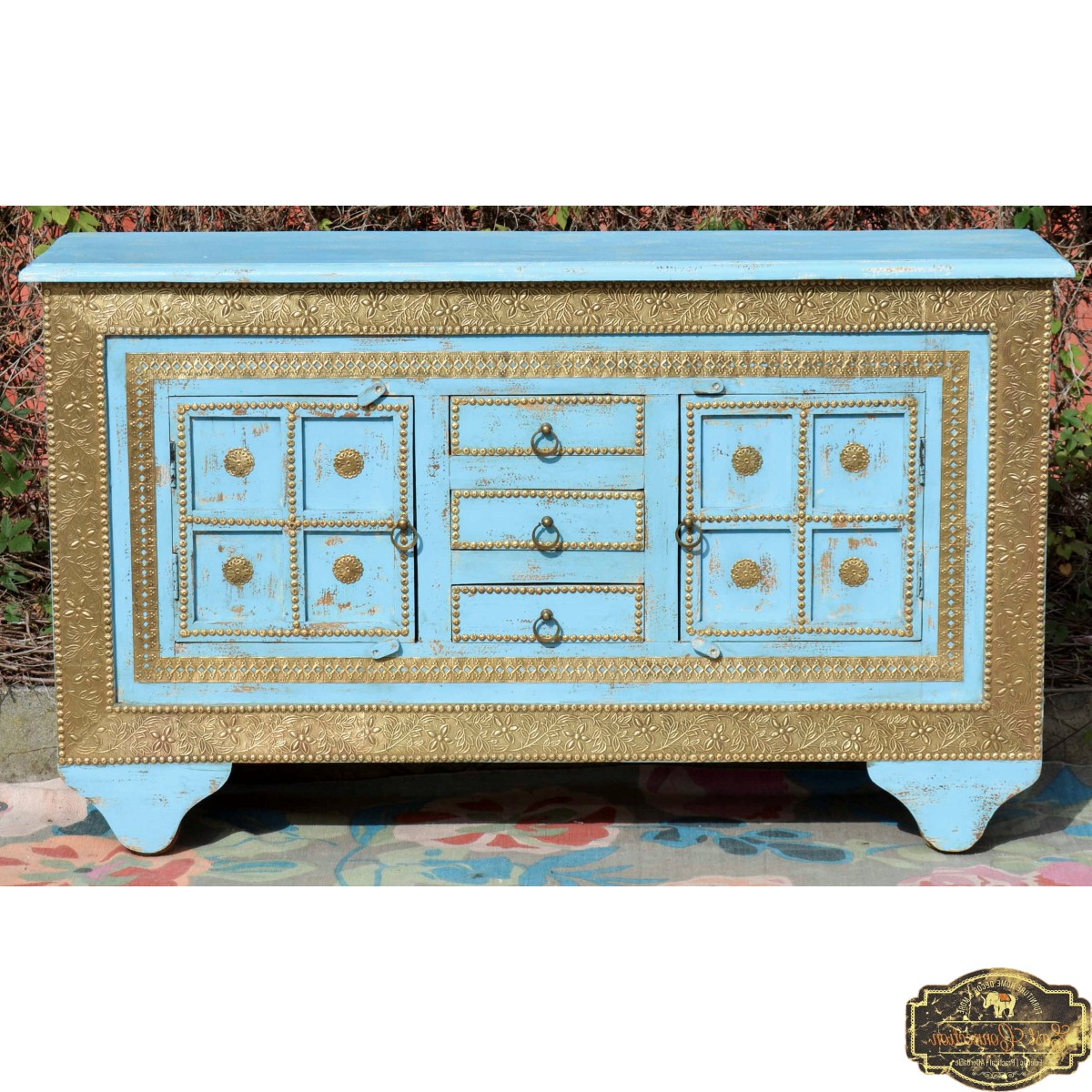 Aged Brass Sideboards Throughout Well Known Boho Blue Vintage Brass Sideboard Cabinet (View 6 of 20)