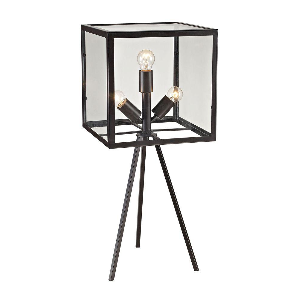 Aged Iron Cube Tables Regarding Well Known Titan Lighting Workshop Glass 28 In. Aged Bronze Cube Table Lamp Tn (Gallery 4 of 20)