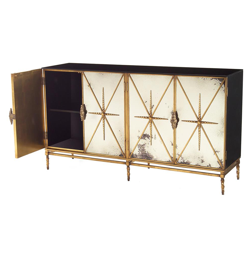Aged Mirrored 2 Door Sideboards Intended For Current John Richard Adalyn Hollywood Regency Antique Mirror Gold Black  (View 1 of 20)