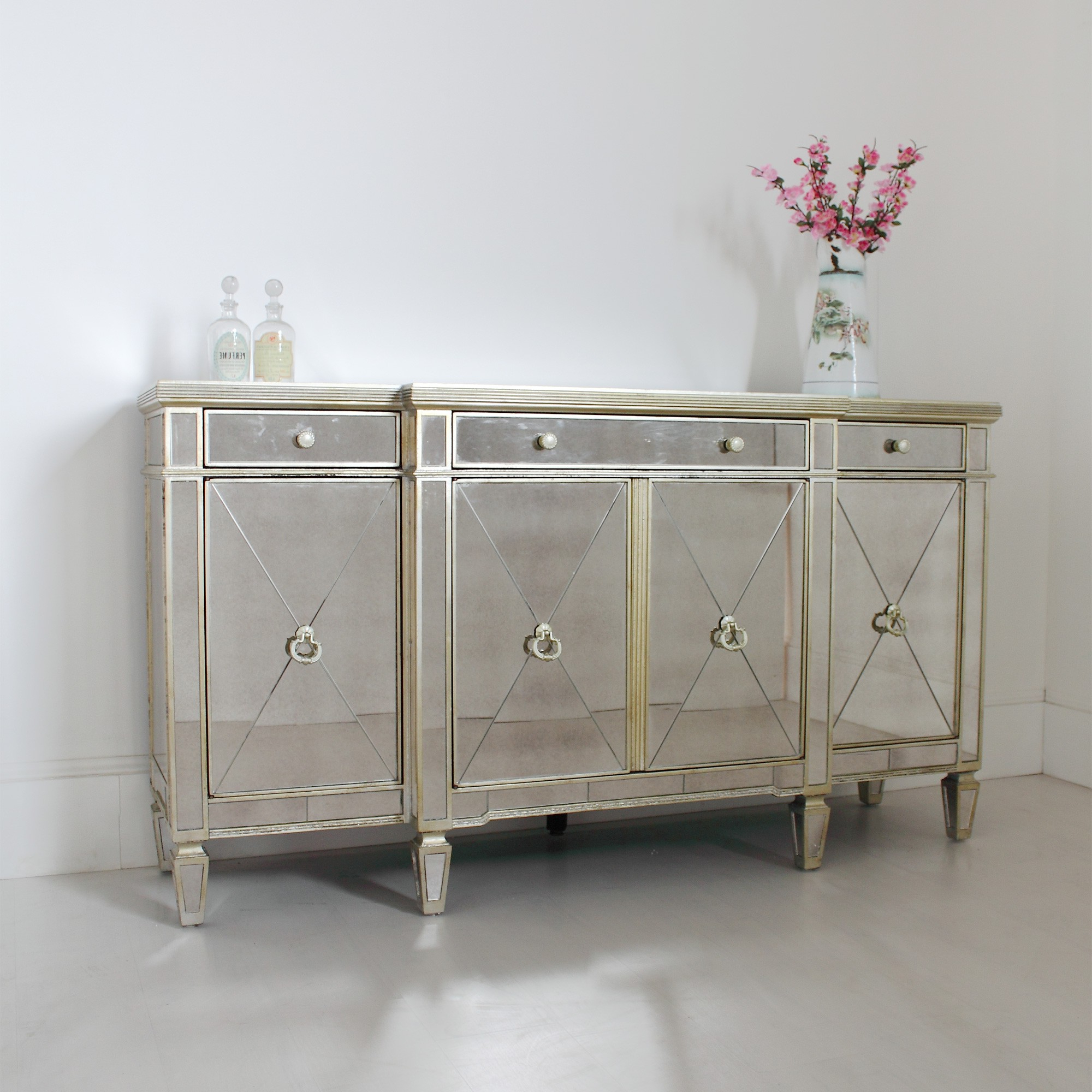 Aged Mirrored 4 Door Sideboards For Trendy Venetian Seville Antique Mirrored Large Sideboard (View 1 of 20)