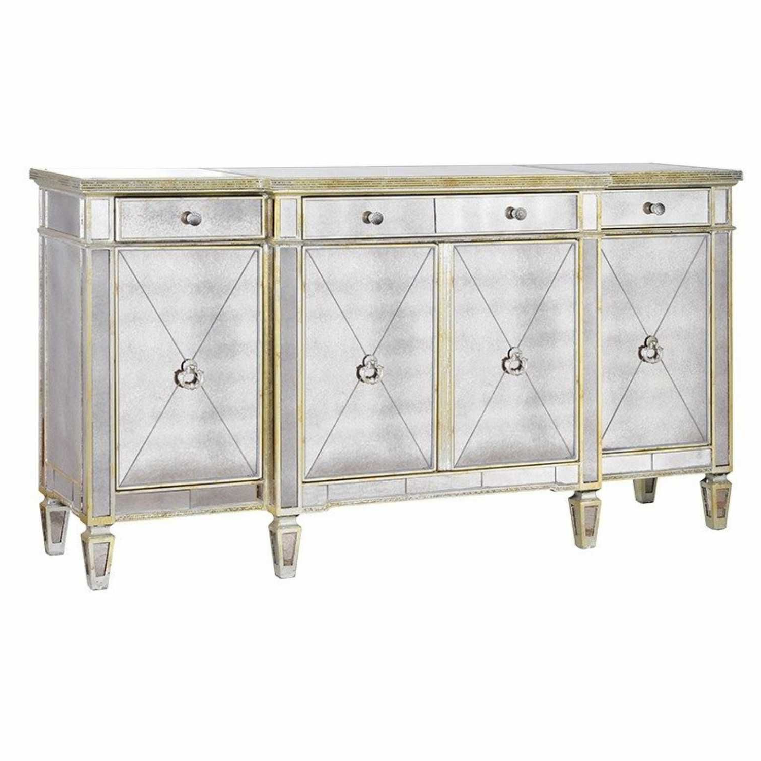 Aged Mirrored 4 Door Sideboards With Best And Newest Large Antique Seville Venetian Mirrored Glass Sideboard 4 Door (Gallery 1 of 20)