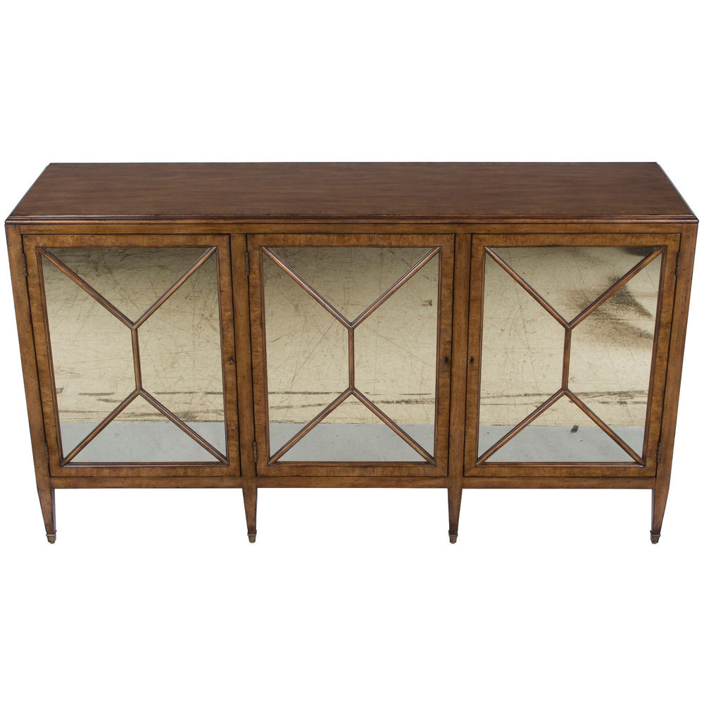 Aged Mirrored 4 Door Sideboards With Trendy New Antique Style Mirrored Door Credenza Buffet Sideboard Server (Gallery 20 of 20)
