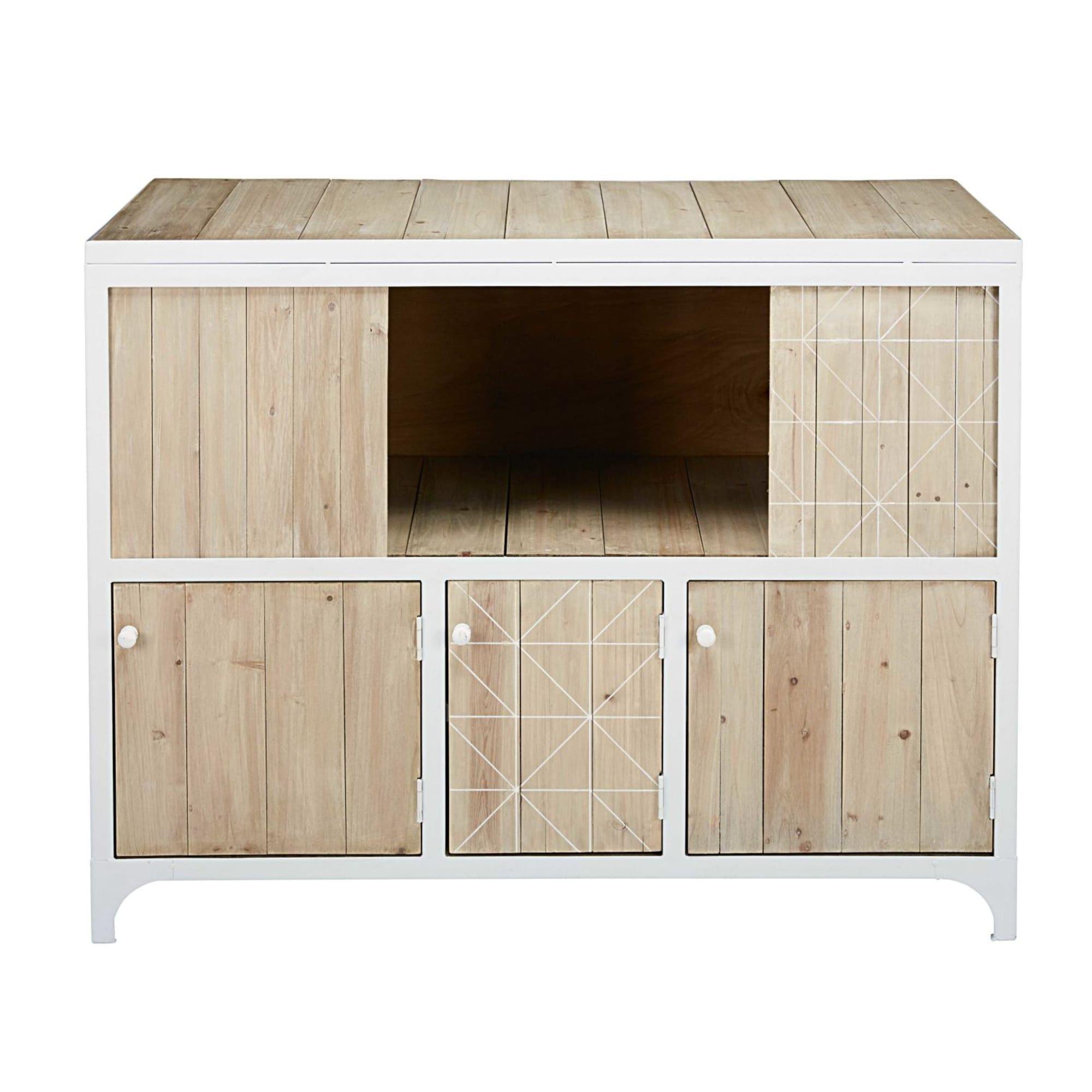 Aged Pine 3 Drawer 2 Door Sideboards Throughout Trendy White Metal And Pine 3 Door Sideboard In  (View 4 of 20)