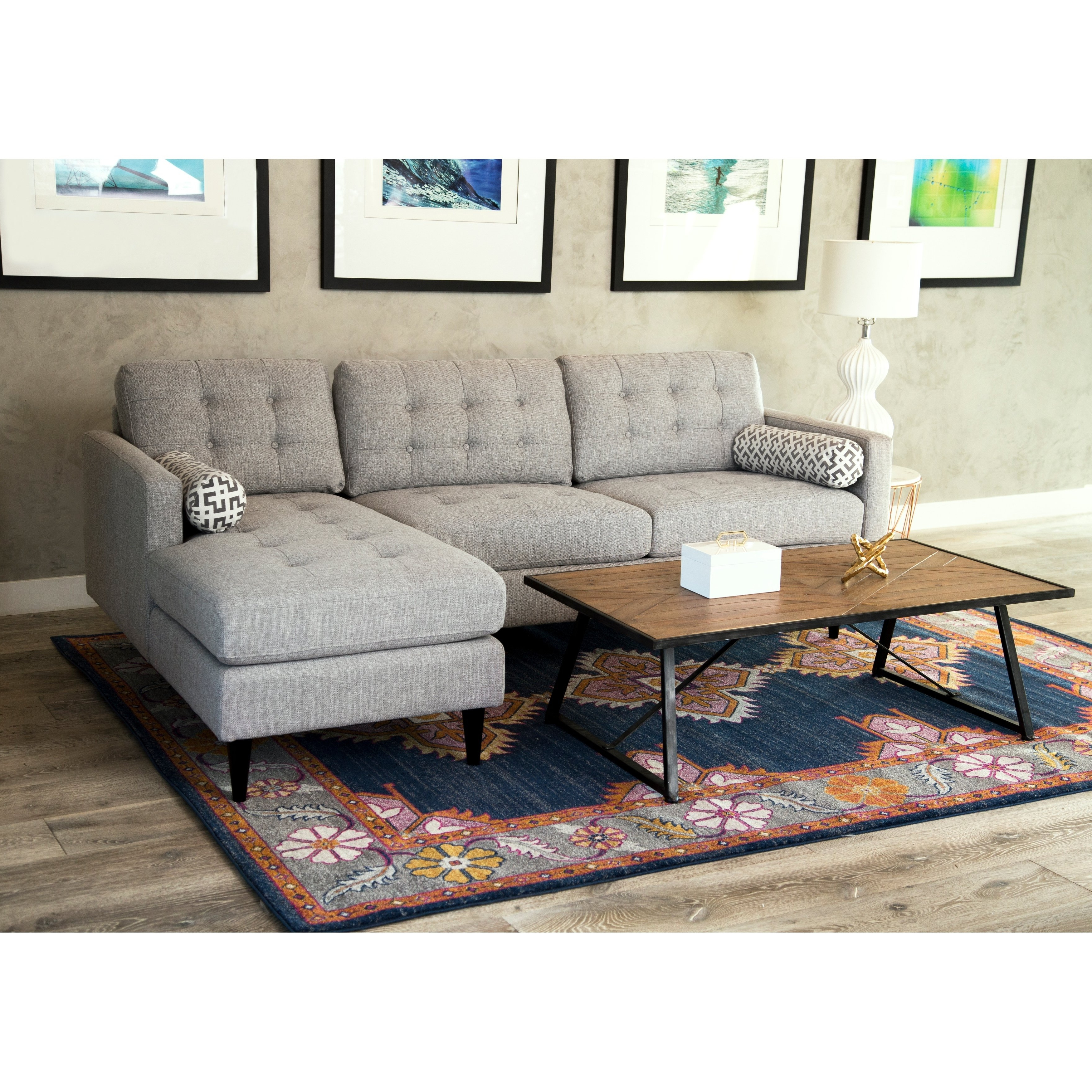 Aidan 4 Piece Sectionals Throughout Most Recently Released Shop Abbyson Aiden Grey Mid Century Tufted Sectional – On Sale (Gallery 13 of 20)