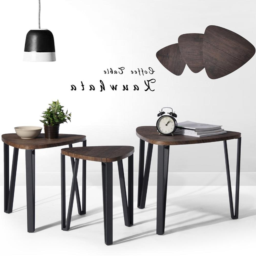 Aingoo Coffee Table Set Of 3 End Side Table Stacking Tea Table Brown Intended For Latest Inverted Triangle Coffee Tables (Gallery 10 of 20)