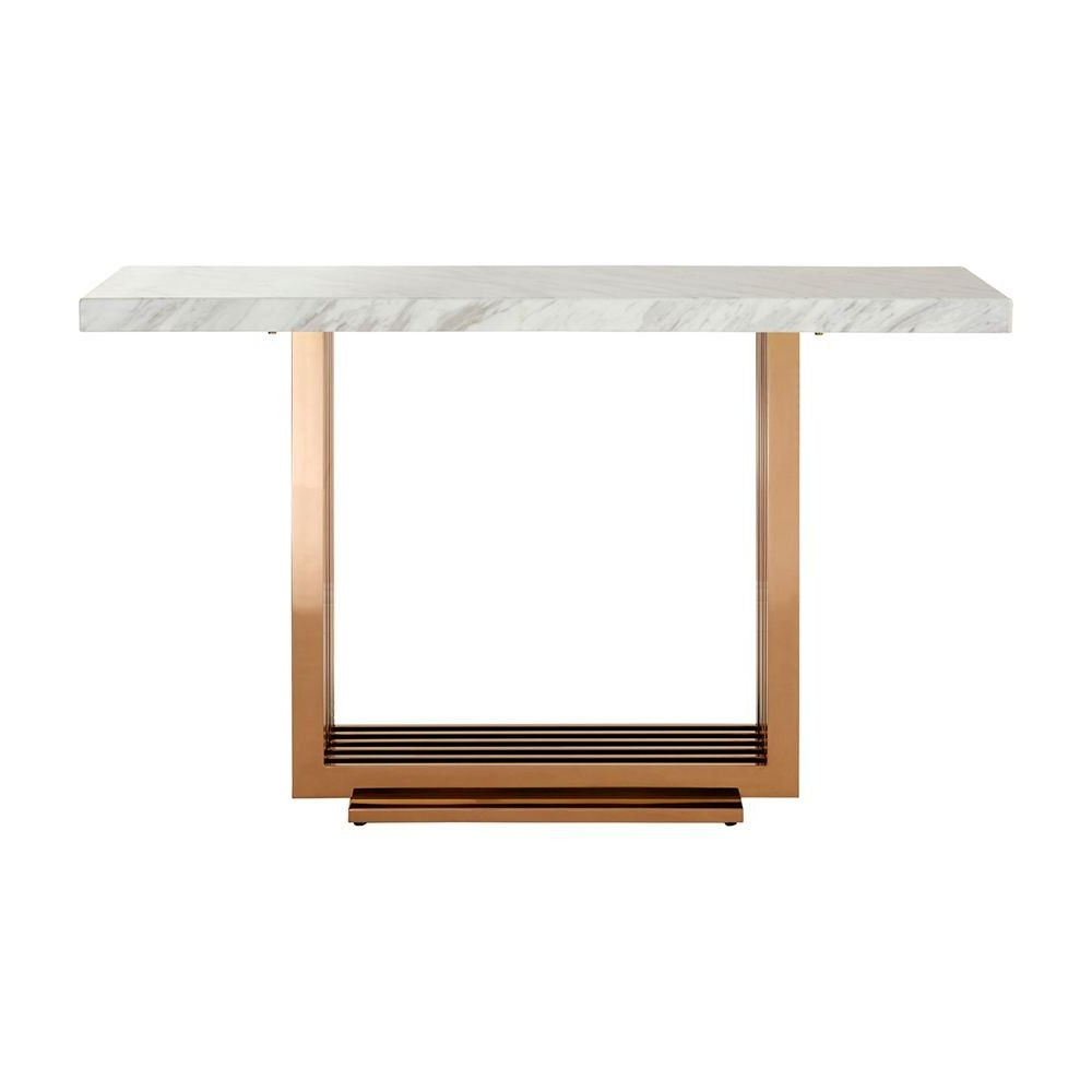 Alcide Rectangular Marble Coffee Tables In Current Collection Mona Console Table White Marble Top Rose Gold Stainless (View 3 of 20)