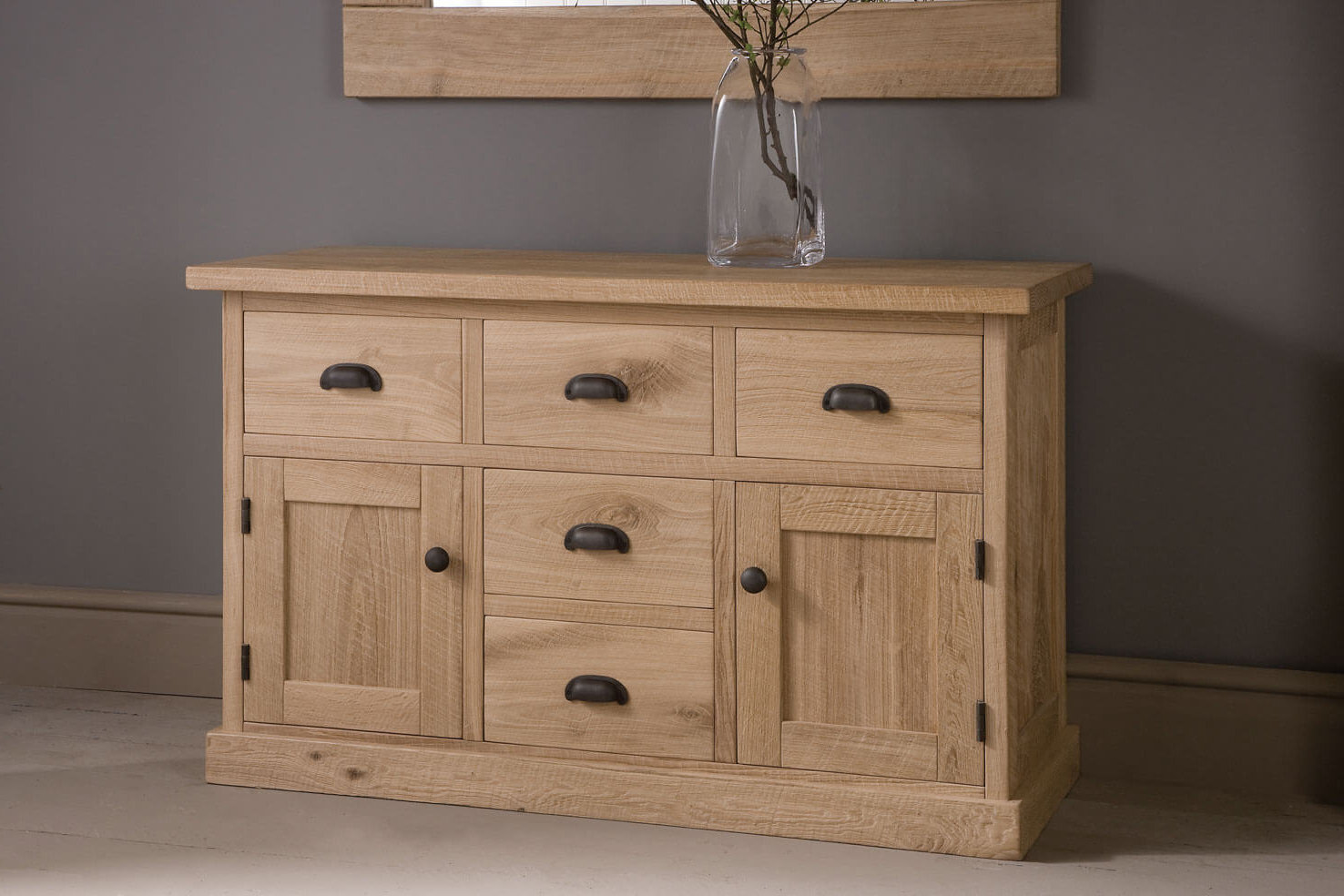 Alderman Five Drawer Oak Sideboardindigo Furniture Within Famous Natural Oak Wood 78 Inch Sideboards (View 2 of 20)