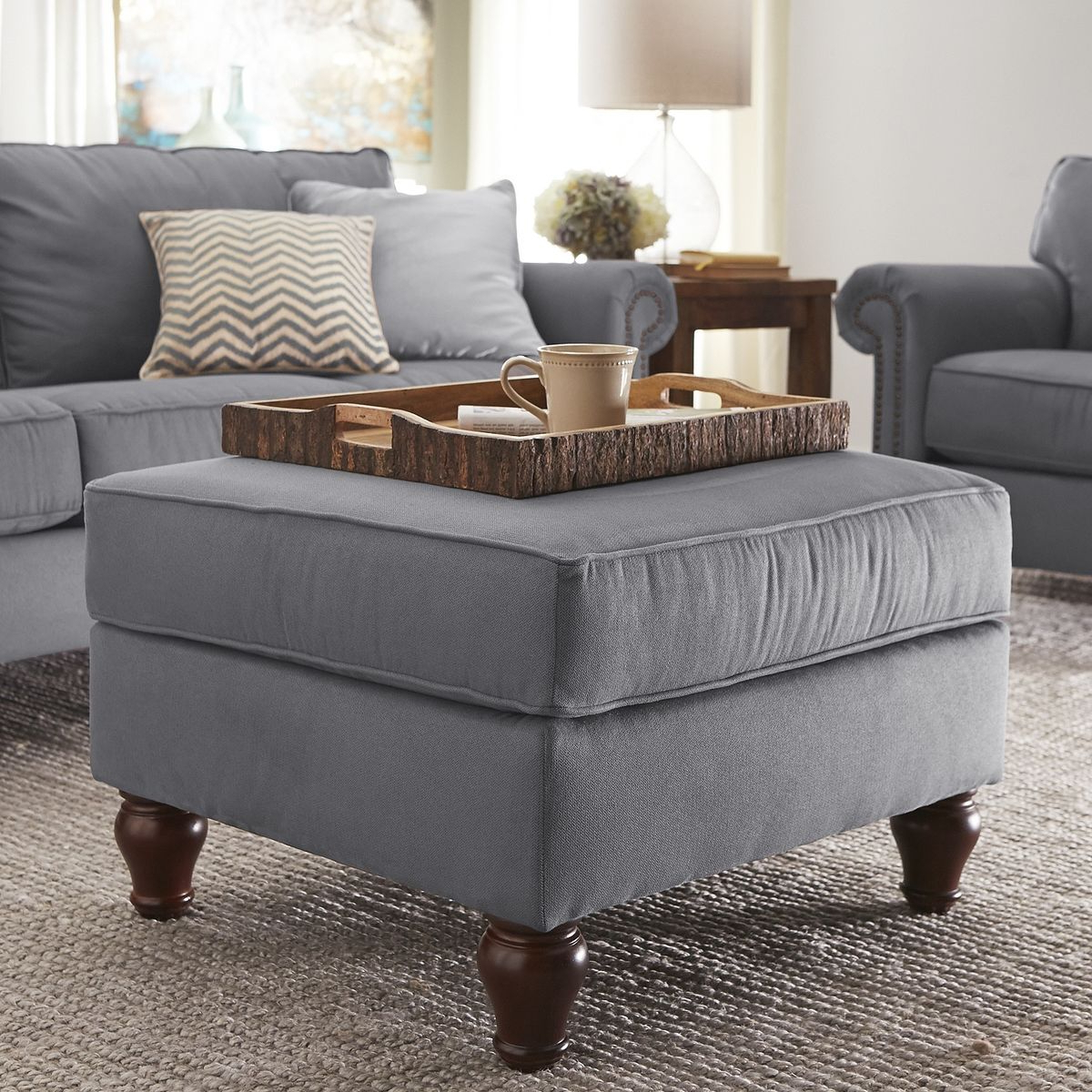 Alton Fabric Ottoman Coffee Table Graphite Gray Upholstery Large Regarding Well Known Alton Cocktail Tables (View 3 of 20)