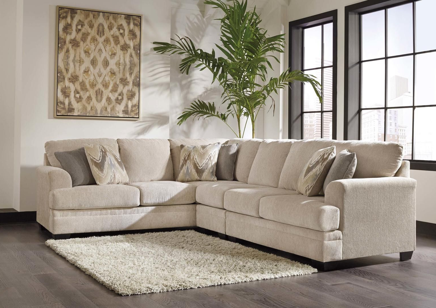 Ameer 81806 55 46 67 3 Piece Fabric Sectional Sofa With Left Arm Pertaining To 2018 Malbry Point 3 Piece Sectionals With Raf Chaise (View 12 of 20)