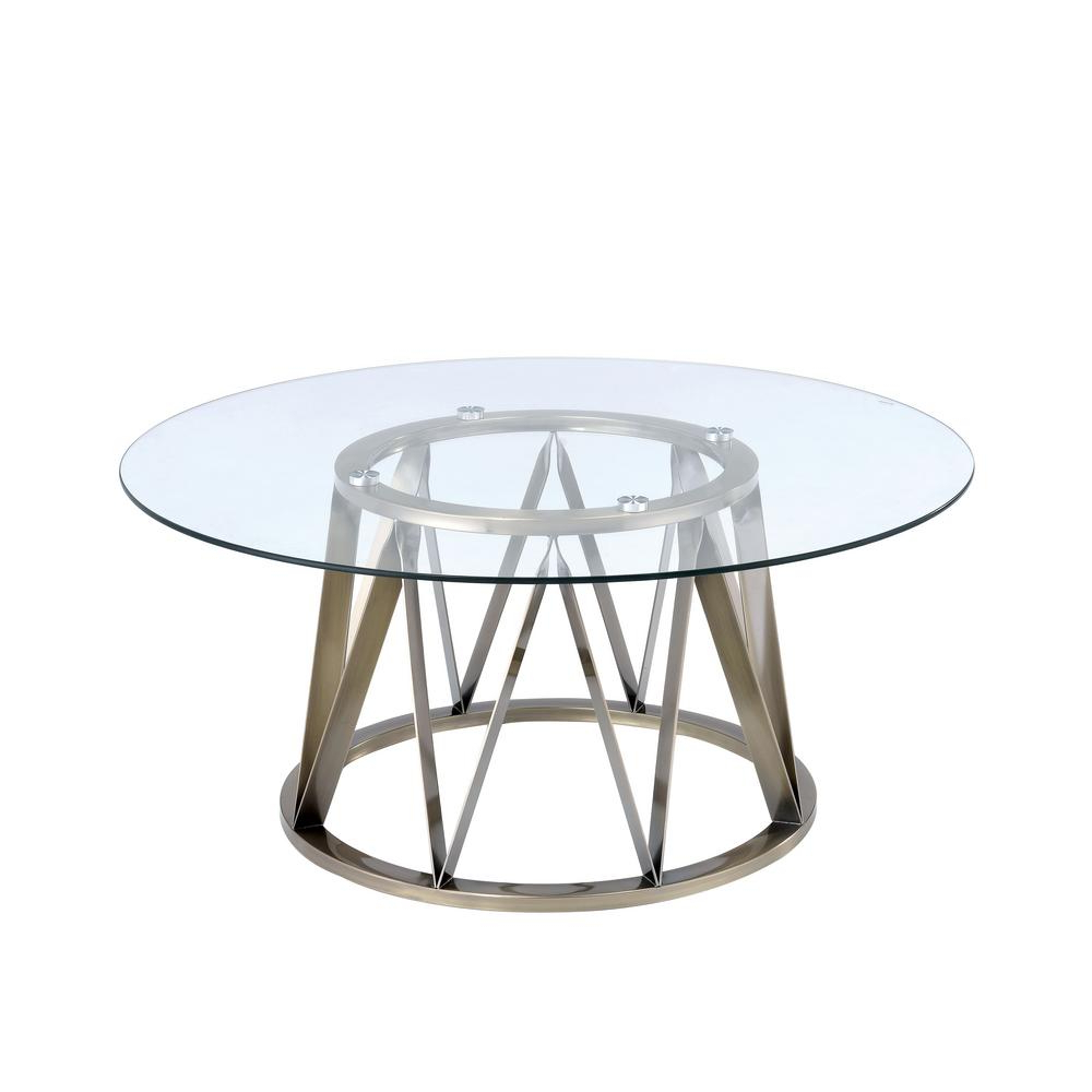 Antique Brass Coffee Tables In Current Acme Furniture Perjan Clear Glass And Antique Brass Coffee Table (View 3 of 20)
