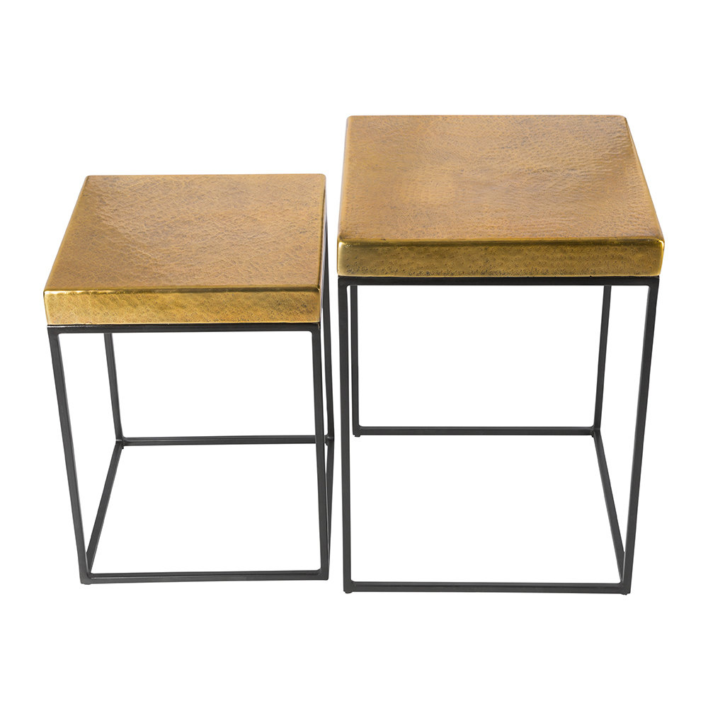 Antique Brass Coffee Tables Intended For Most Recent Buy Aamara Cube Side Tables – Set Of 2 – Antique Brass (View 6 of 20)