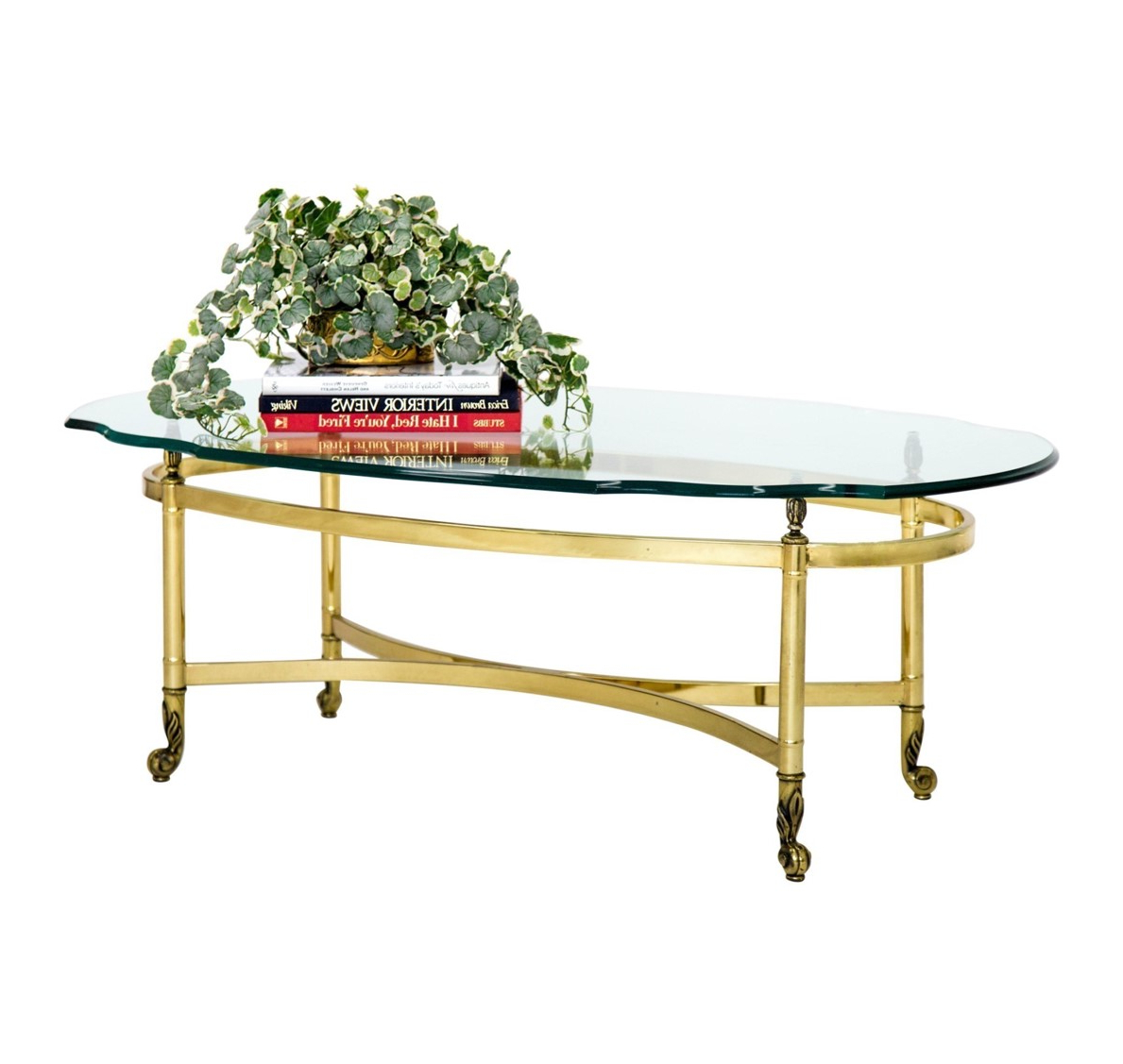 Antique Brass Coffee Tables Pertaining To Recent Oval Brass And Glass Cocktail Table – Janney's Collection (View 7 of 20)