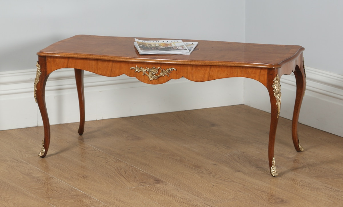 Antique French Louis Xvi Style Burr Walnut Marquetry Inlaid Brass Inside Most Current Antiqued Art Deco Coffee Tables (View 15 of 20)