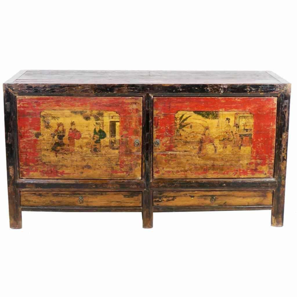 Antique Mongolian Chinese 2 Door Sideboard Cabinet 62 Inch Long X 33 Intended For Best And Newest Reclaimed Elm 91 Inch Sideboards (Gallery 1 of 20)